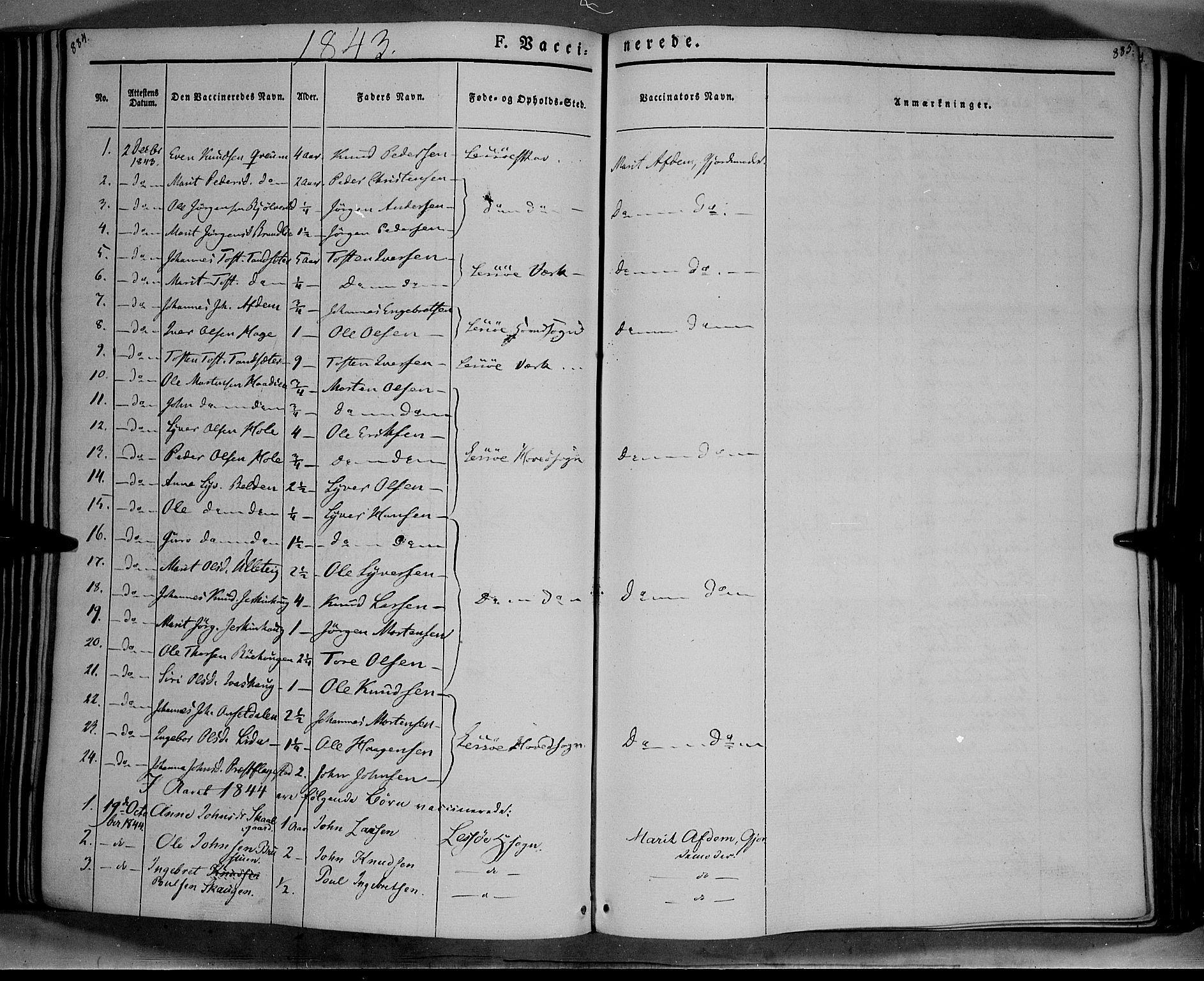 SAH, Lesja prestekontor, Ministerialbok nr. 6B, 1843-1854, s. 884-885