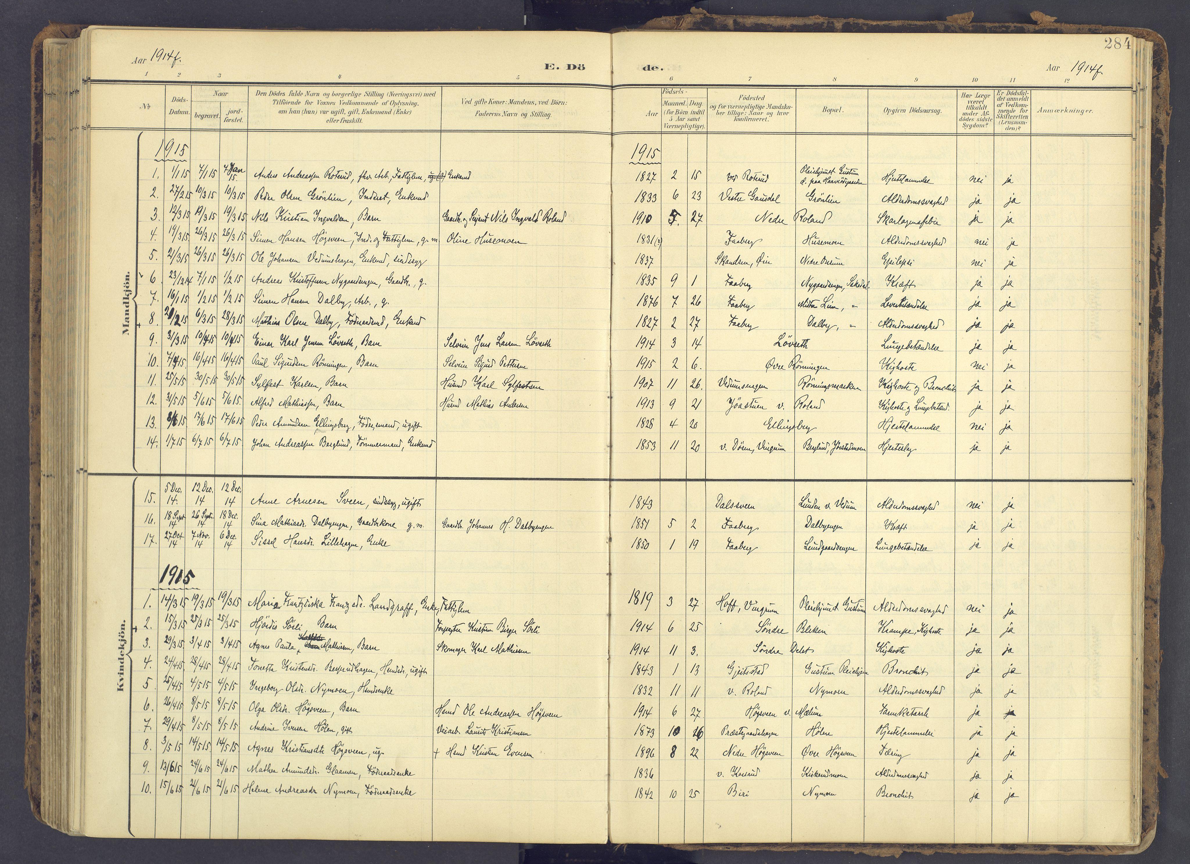 SAH, Fåberg prestekontor, Ministerialbok nr. 12, 1899-1915, s. 284