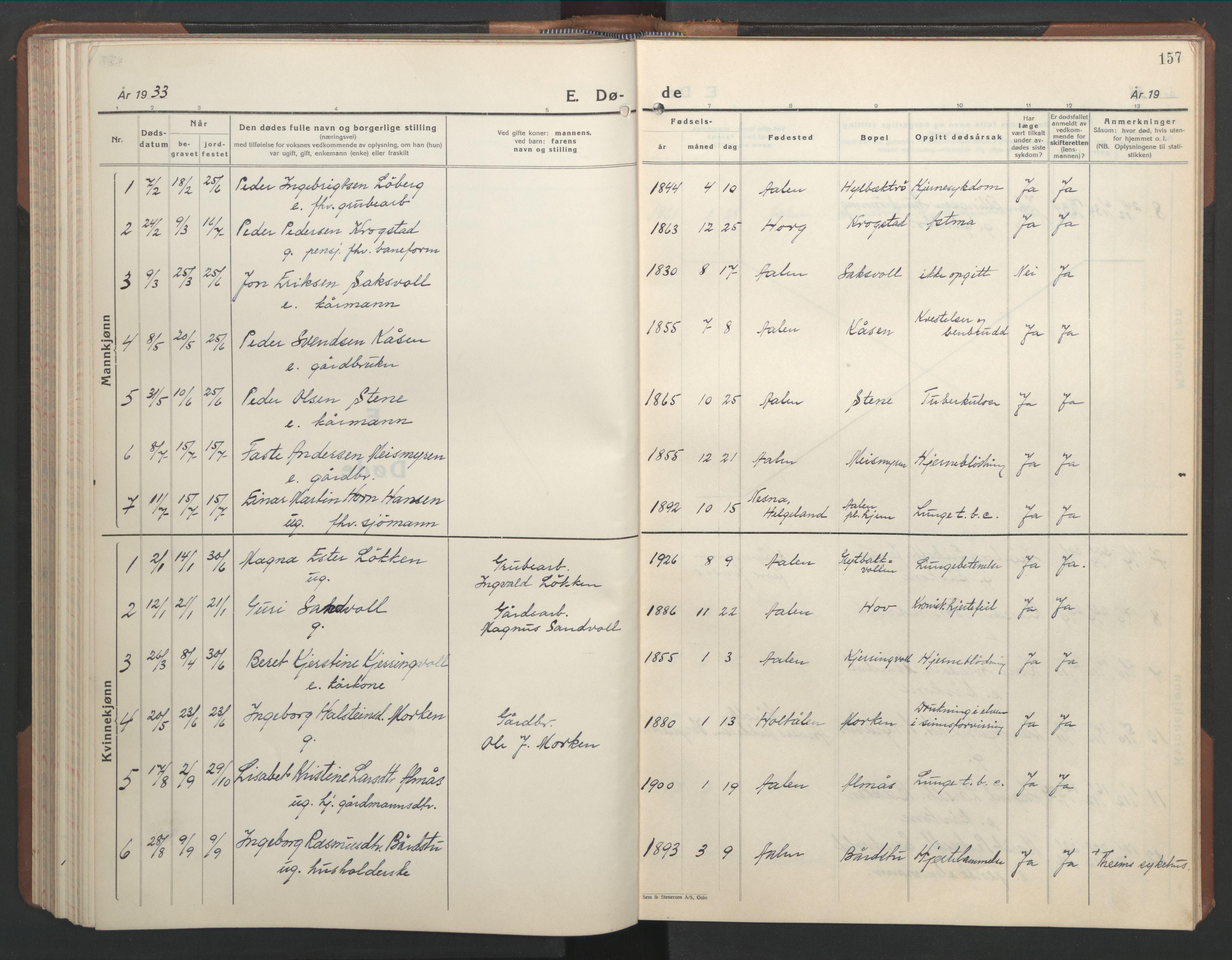 SAT, Ministerialprotokoller, klokkerbøker og fødselsregistre - Sør-Trøndelag, 686/L0986: Klokkerbok nr. 686C02, 1933-1950, s. 157