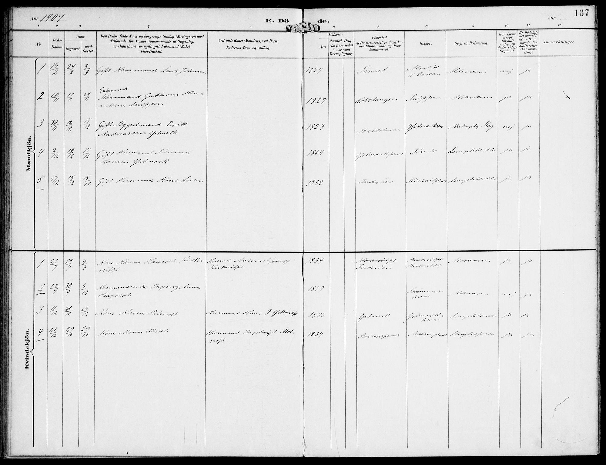 SAT, Ministerialprotokoller, klokkerbøker og fødselsregistre - Nord-Trøndelag, 745/L0430: Ministerialbok nr. 745A02, 1895-1913, s. 137