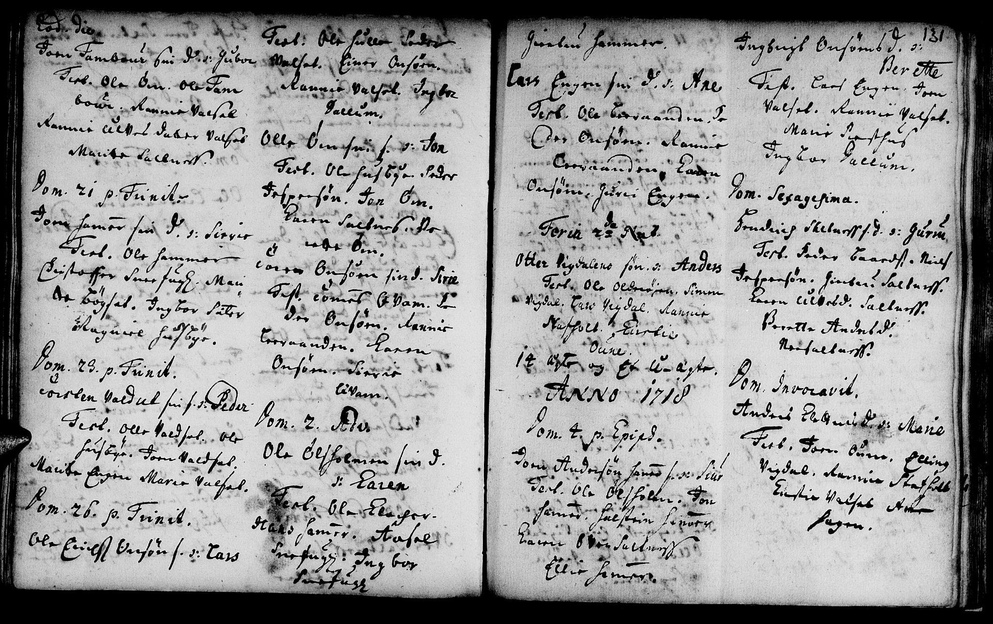 SAT, Ministerialprotokoller, klokkerbøker og fødselsregistre - Sør-Trøndelag, 666/L0783: Ministerialbok nr. 666A01, 1702-1753, s. 131
