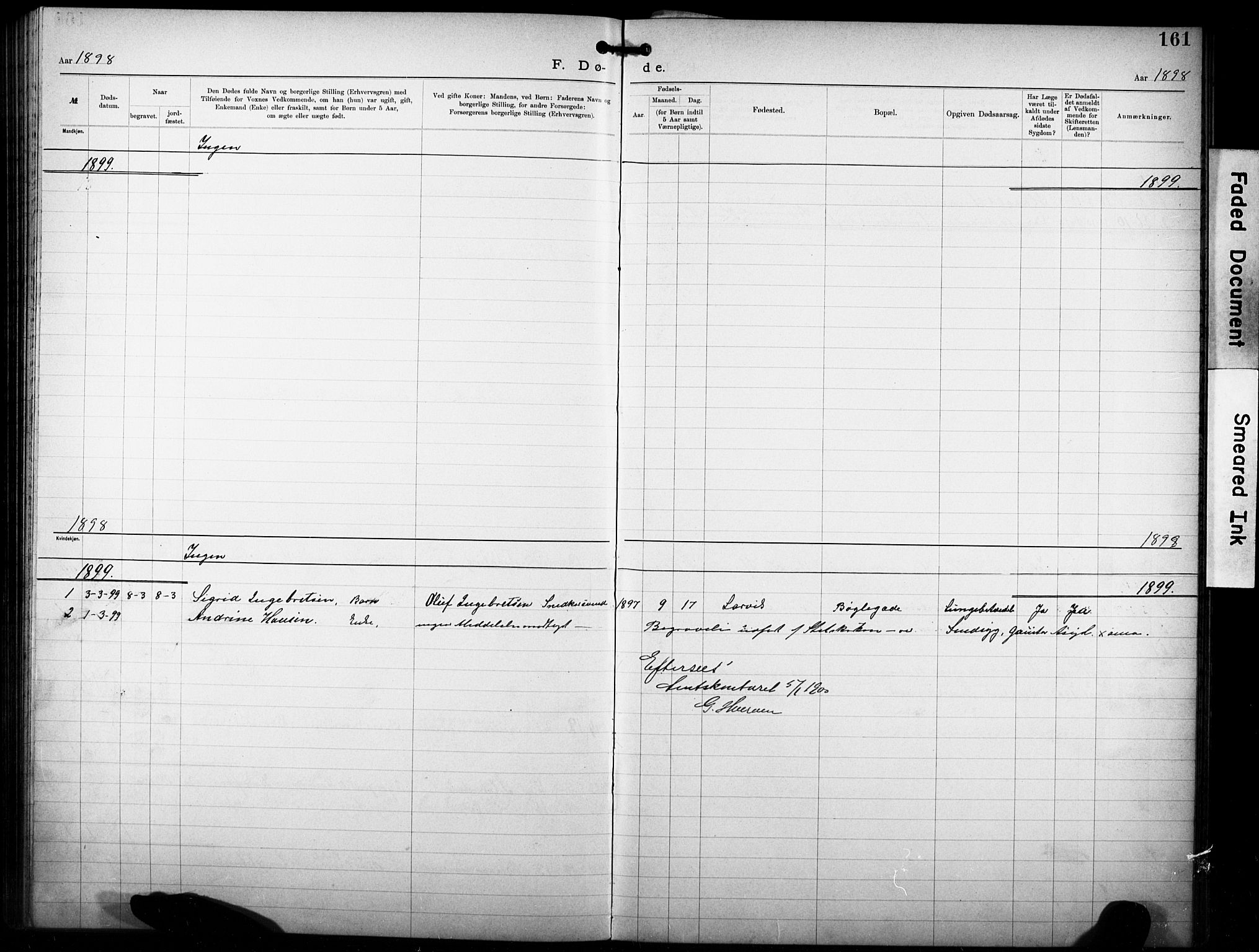 SAKO, Den katolsk-apostoliske menighet i Larvik, F/Fa/L0001: Dissenterprotokoll nr. 1, 1892-1933, s. 161