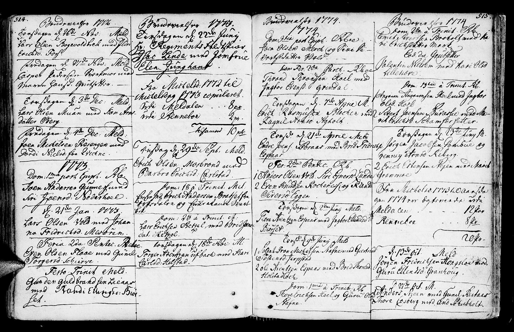 SAT, Ministerialprotokoller, klokkerbøker og fødselsregistre - Sør-Trøndelag, 672/L0851: Ministerialbok nr. 672A04, 1751-1775, s. 514-515