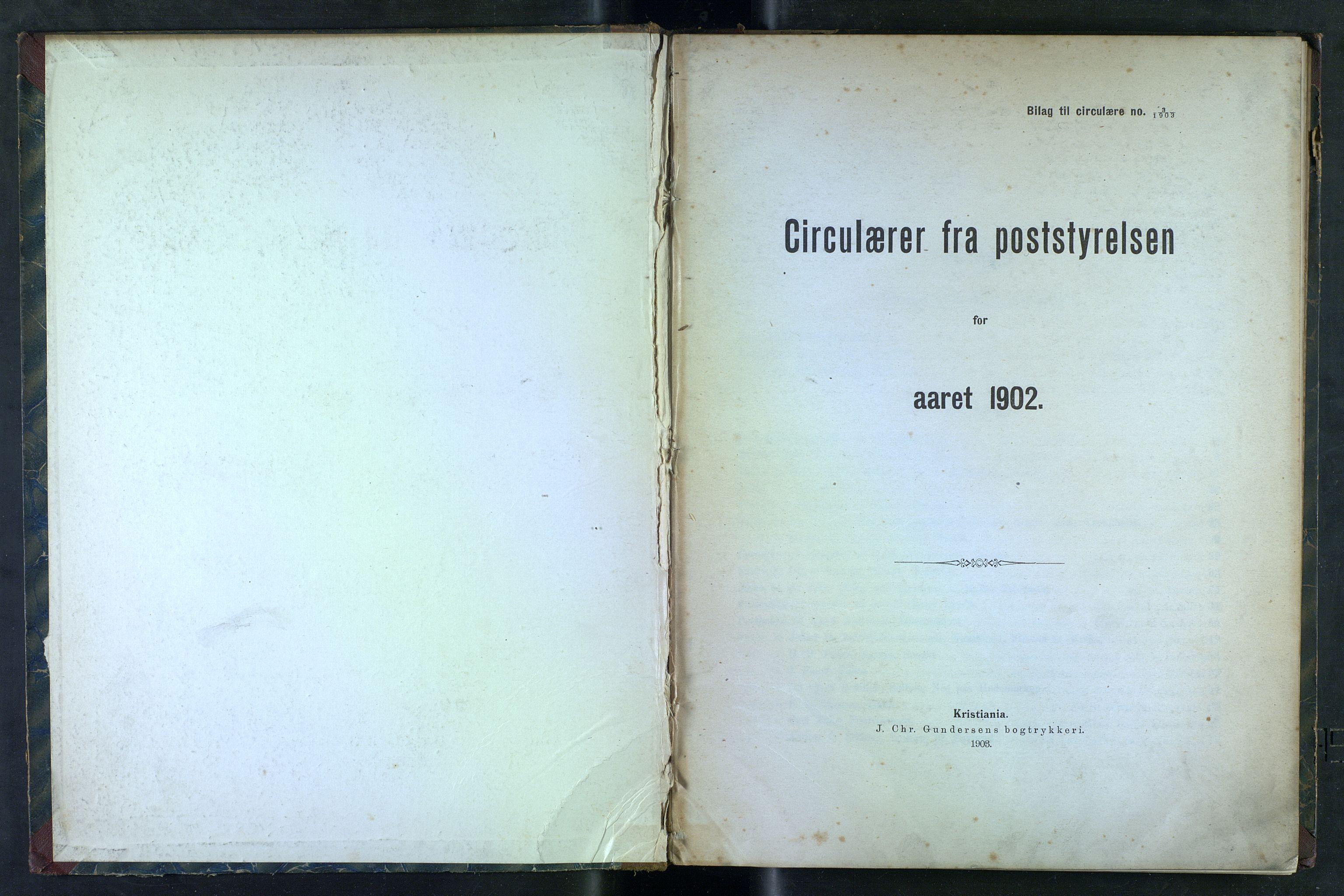 NOPO, Norges Postmuseums bibliotek, -/-: Sirkulærer fra Poststyrelsen, 1902