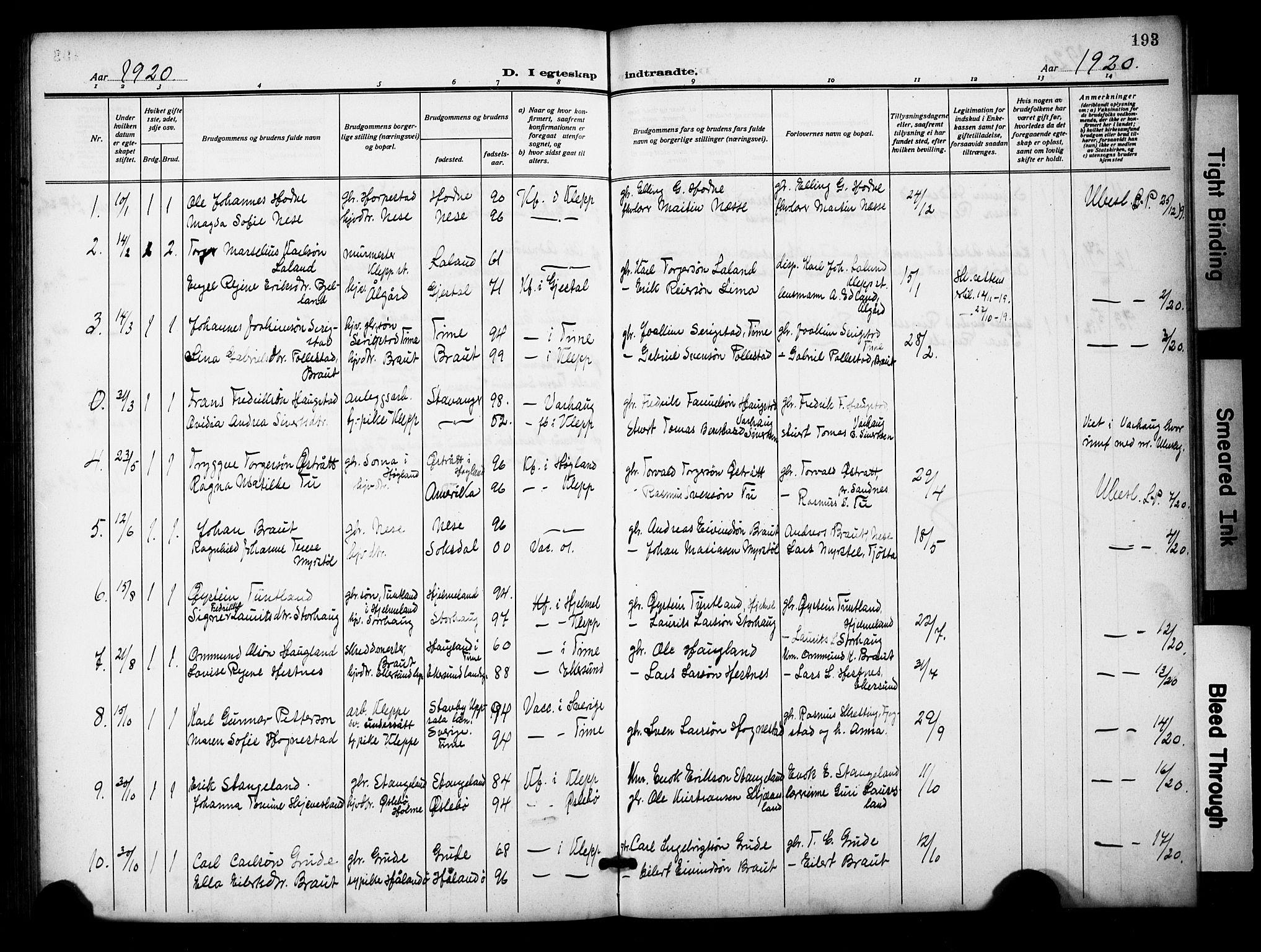 SAST, Klepp sokneprestkontor, 3/30BB/L0007: Klokkerbok nr. B 7, 1908-1934, s. 193