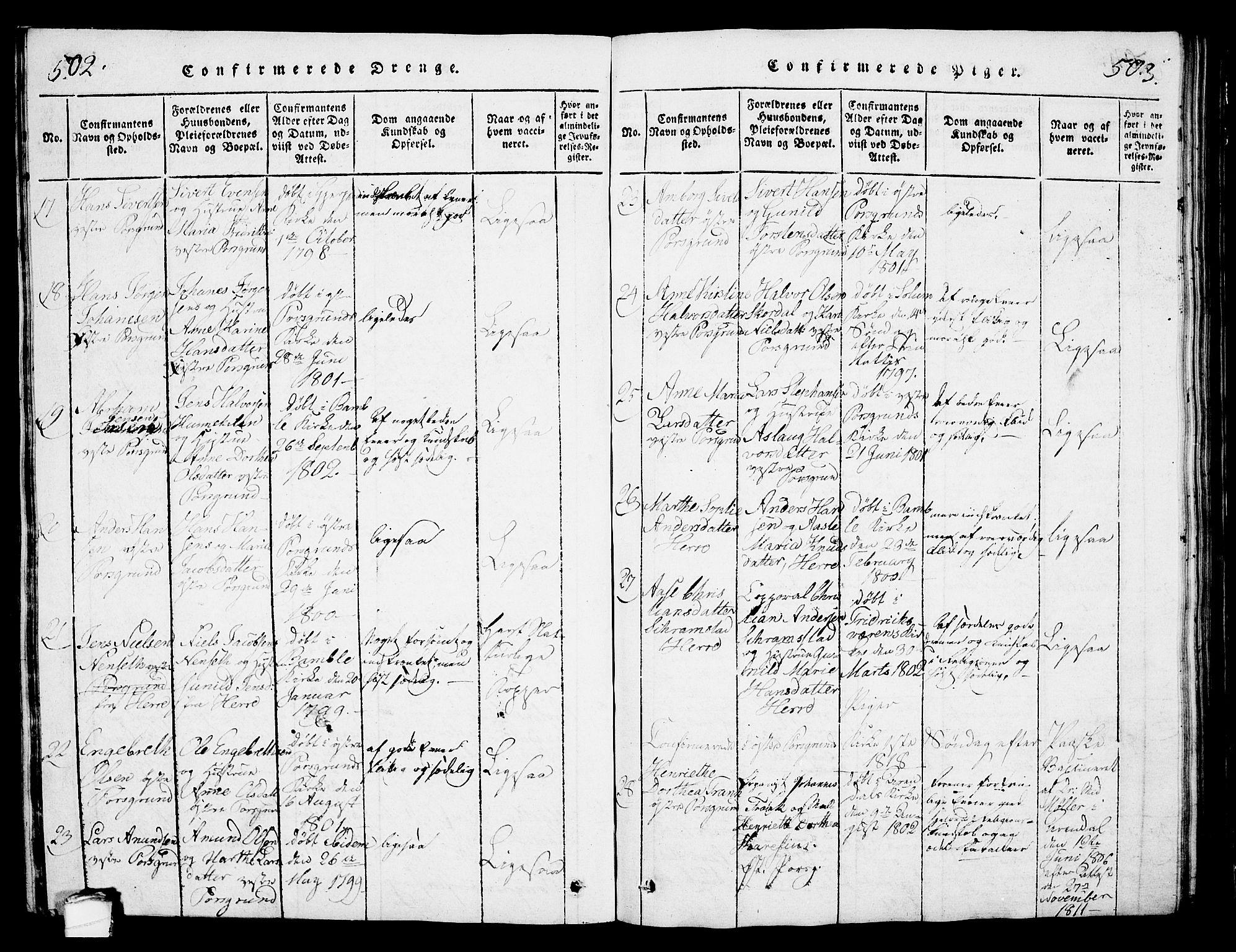 SAKO, Porsgrunn kirkebøker , G/Gb/L0001: Klokkerbok nr. II 1, 1817-1828, s. 502-503