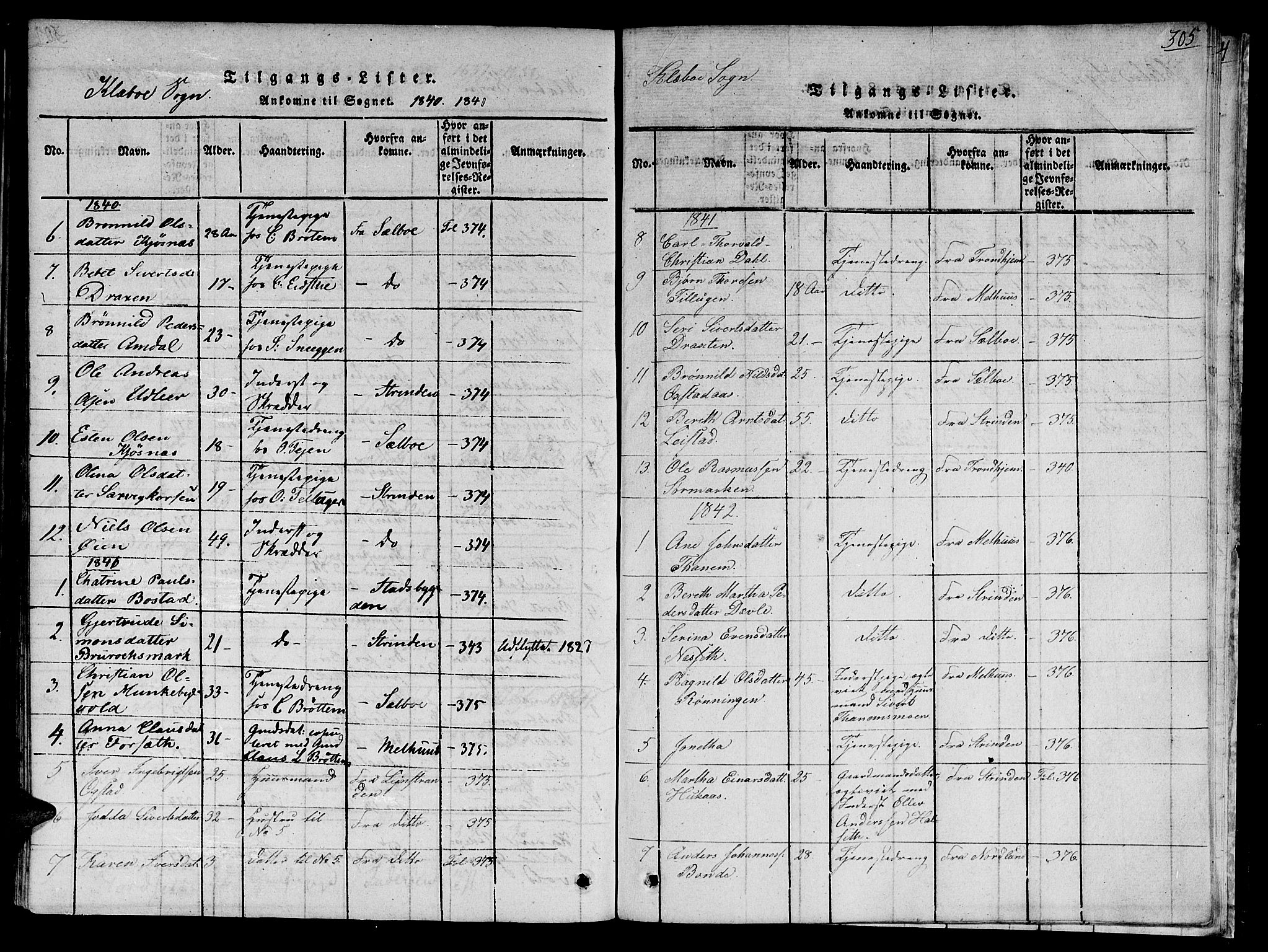 SAT, Ministerialprotokoller, klokkerbøker og fødselsregistre - Sør-Trøndelag, 618/L0439: Ministerialbok nr. 618A04 /1, 1816-1843, s. 305