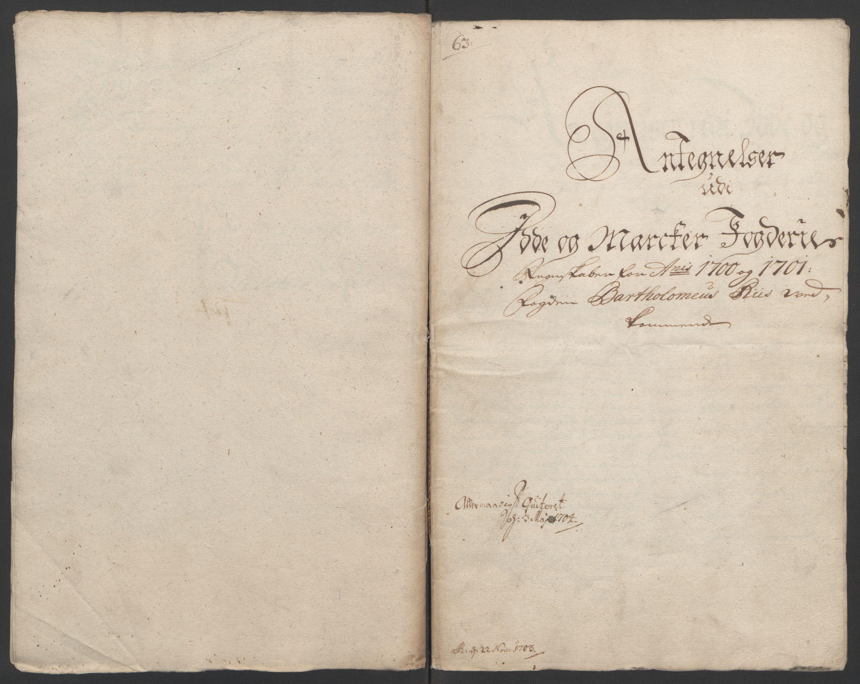 RA, Rentekammeret inntil 1814, Reviderte regnskaper, Fogderegnskap, R01/L0015: Fogderegnskap Idd og Marker, 1700-1701, s. 347