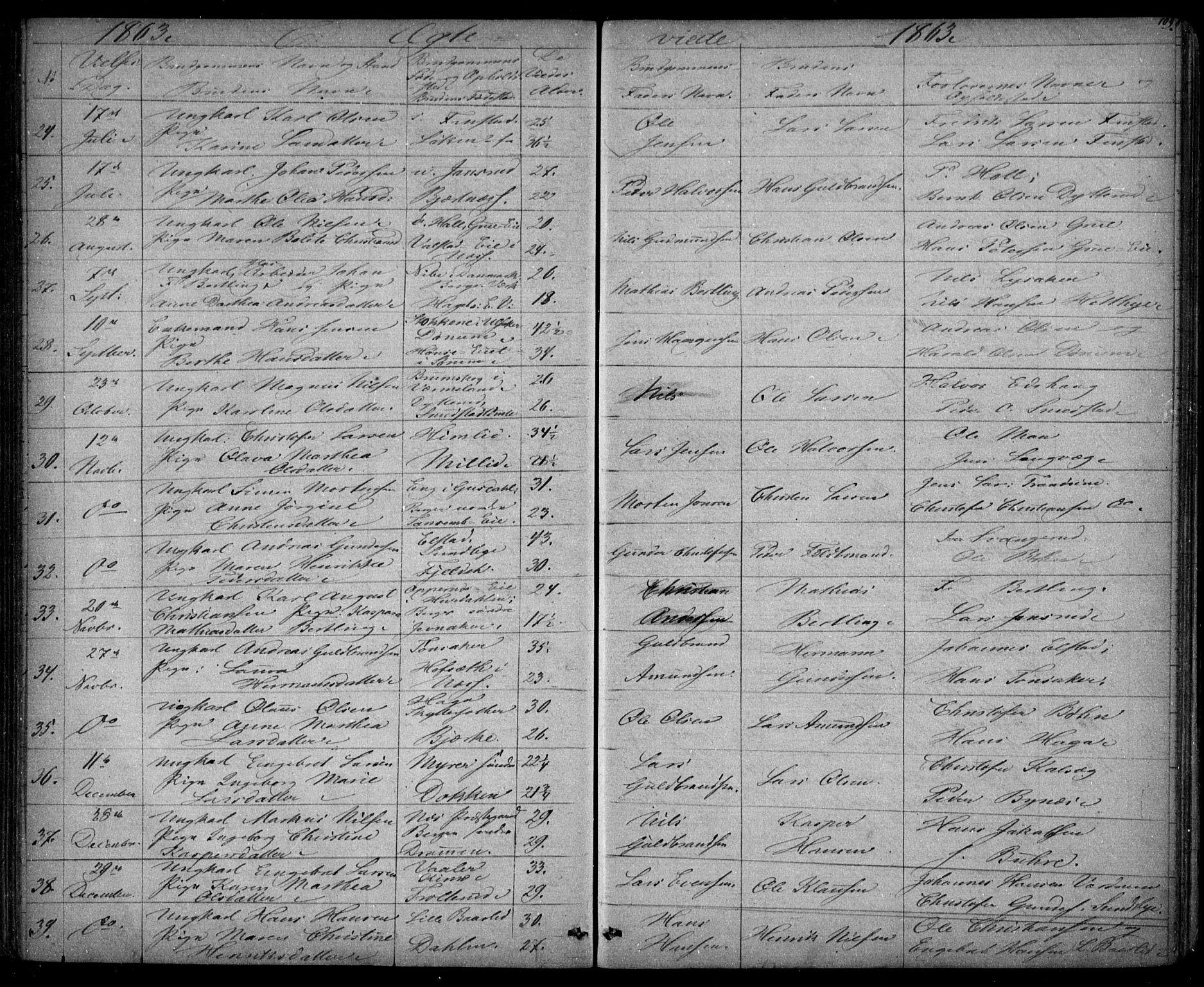 SAO, Eidsvoll prestekontor Kirkebøker, G/Ga/L0001: Klokkerbok nr. I 1, 1861-1866, s. 109