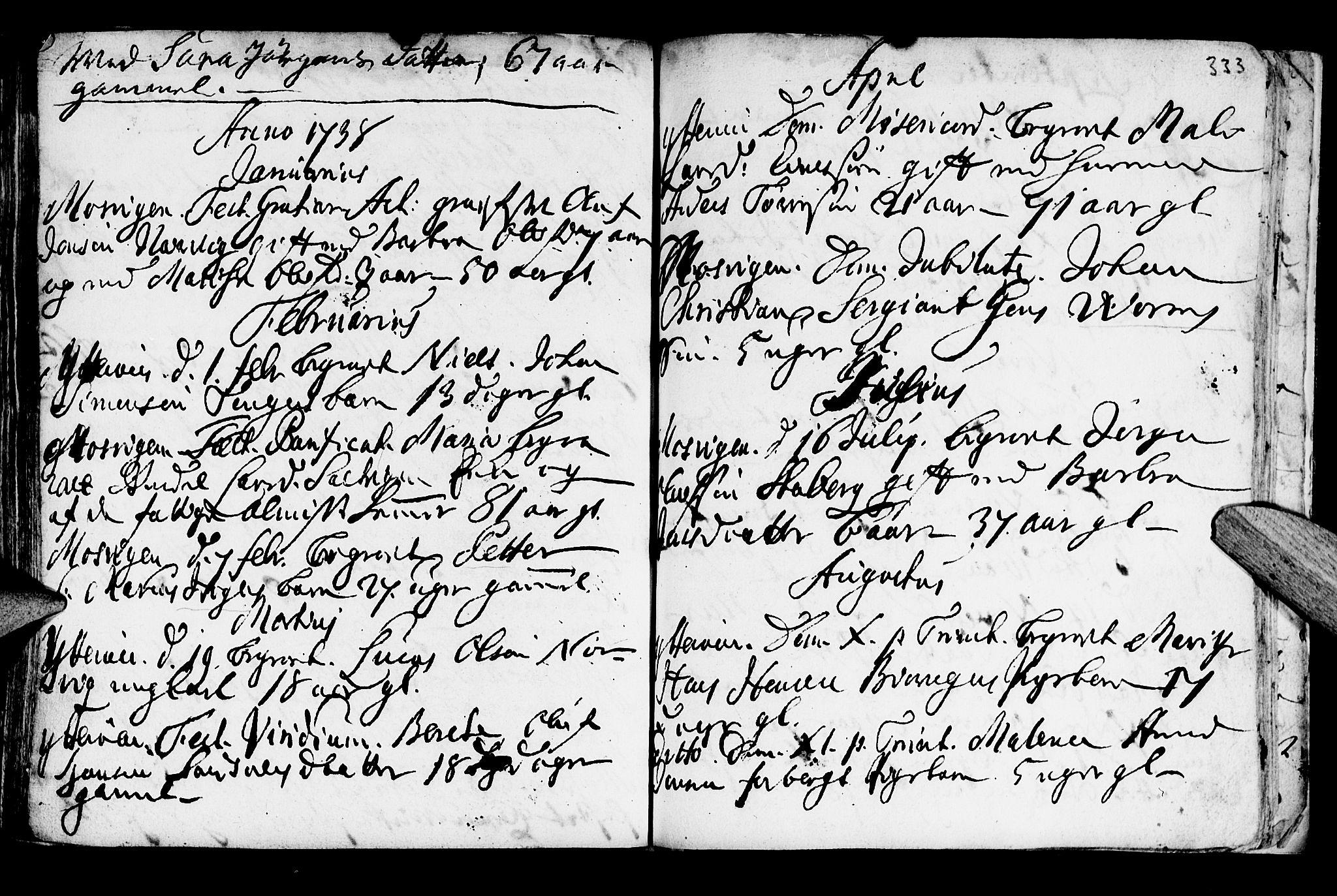 SAT, Ministerialprotokoller, klokkerbøker og fødselsregistre - Nord-Trøndelag, 722/L0215: Ministerialbok nr. 722A02, 1718-1755, s. 333