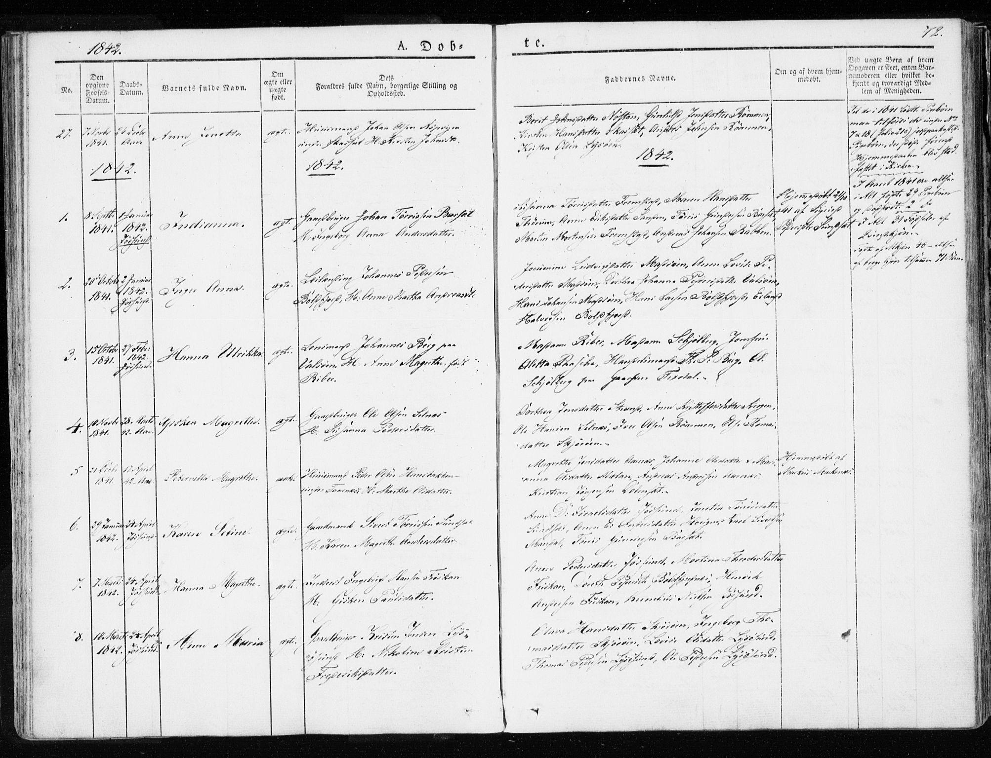SAT, Ministerialprotokoller, klokkerbøker og fødselsregistre - Sør-Trøndelag, 655/L0676: Ministerialbok nr. 655A05, 1830-1847, s. 72