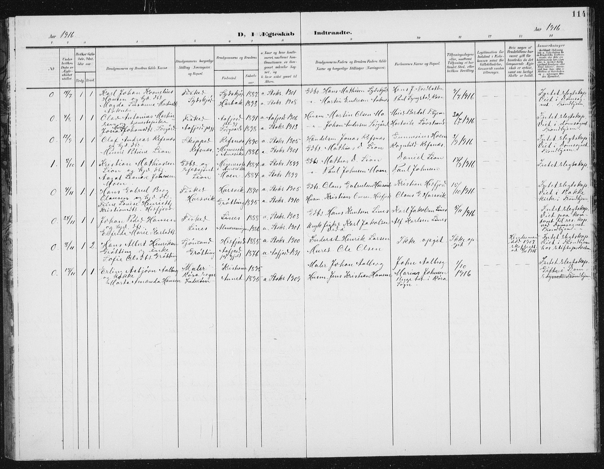SAT, Ministerialprotokoller, klokkerbøker og fødselsregistre - Sør-Trøndelag, 656/L0699: Klokkerbok nr. 656C05, 1905-1920, s. 114