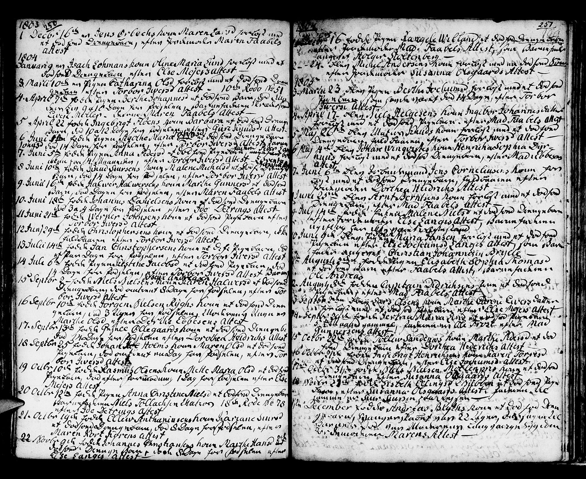 SAB, Domkirken Sokneprestembete, H/Haa/L0009: Ministerialbok nr. A 9, 1776-1821, s. 250-251