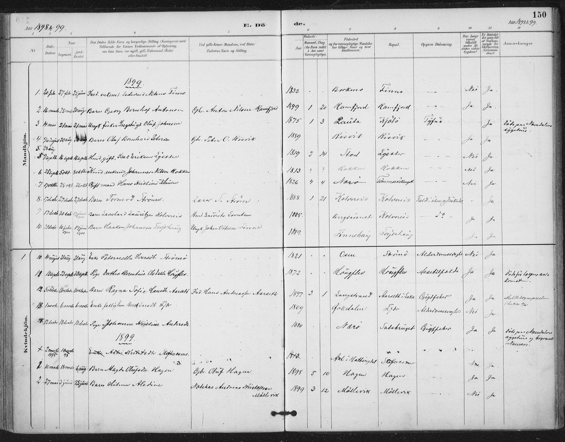 SAT, Ministerialprotokoller, klokkerbøker og fødselsregistre - Nord-Trøndelag, 780/L0644: Ministerialbok nr. 780A08, 1886-1903, s. 150