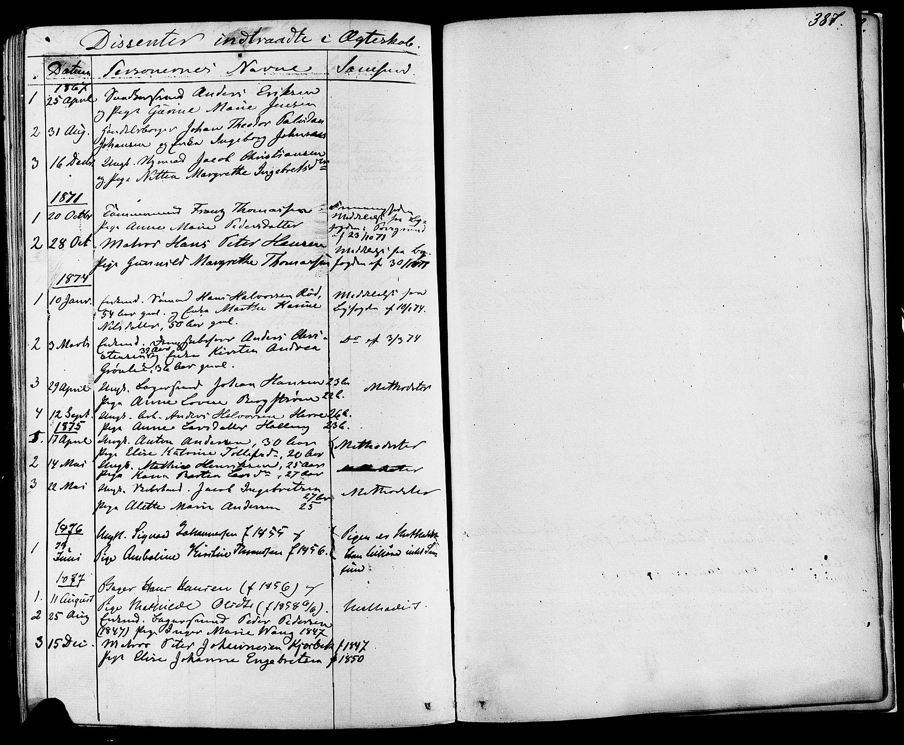 SAKO, Skien kirkebøker, F/Fa/L0008: Ministerialbok nr. 8, 1866-1877, s. 387