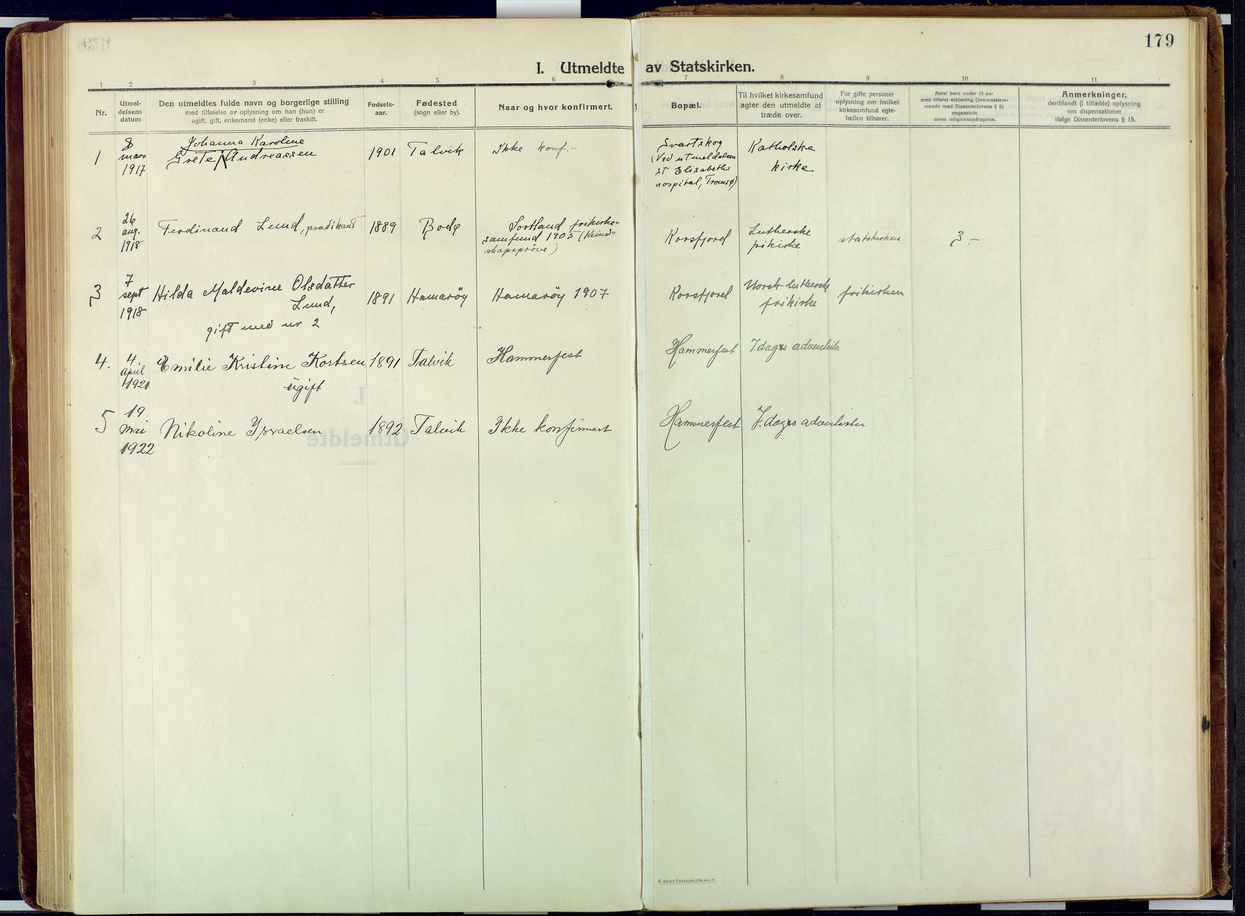 SATØ, Talvik sokneprestkontor, H/Ha/L0018kirke: Ministerialbok nr. 18, 1915-1924, s. 179