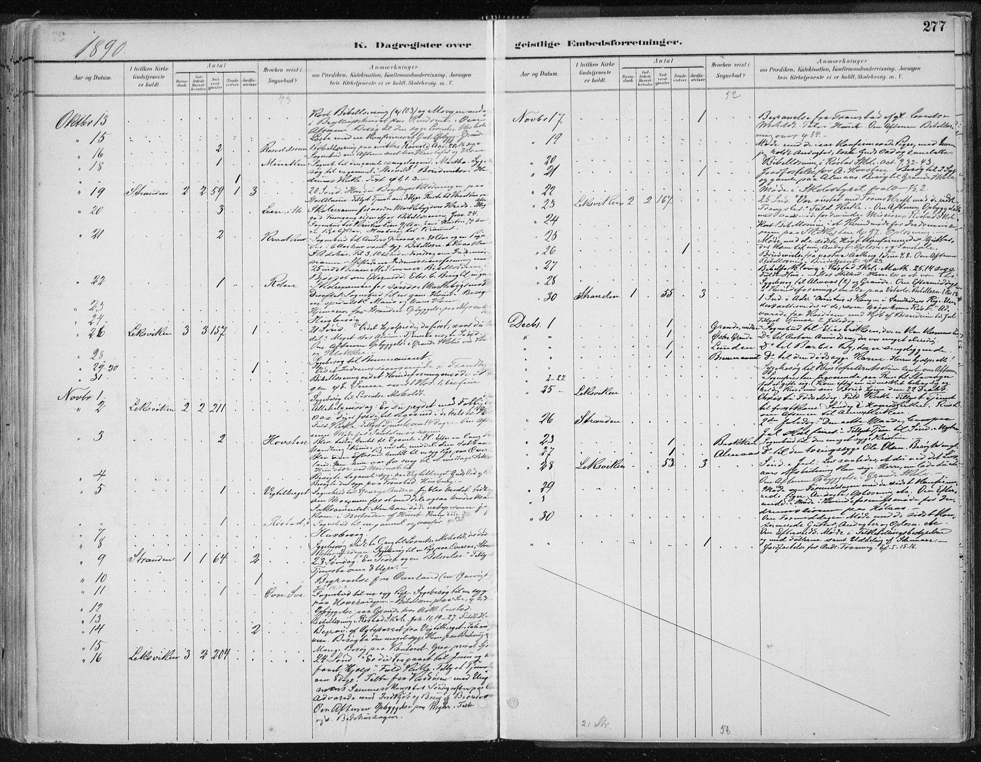 SAT, Ministerialprotokoller, klokkerbøker og fødselsregistre - Nord-Trøndelag, 701/L0010: Ministerialbok nr. 701A10, 1883-1899, s. 277