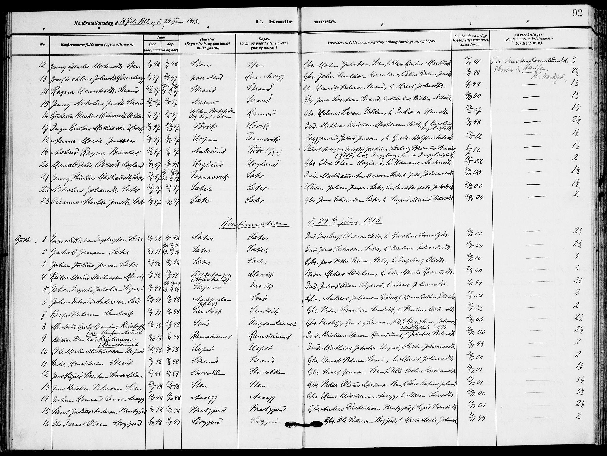 SAT, Ministerialprotokoller, klokkerbøker og fødselsregistre - Sør-Trøndelag, 658/L0724: Ministerialbok nr. 658A03, 1912-1924, s. 92