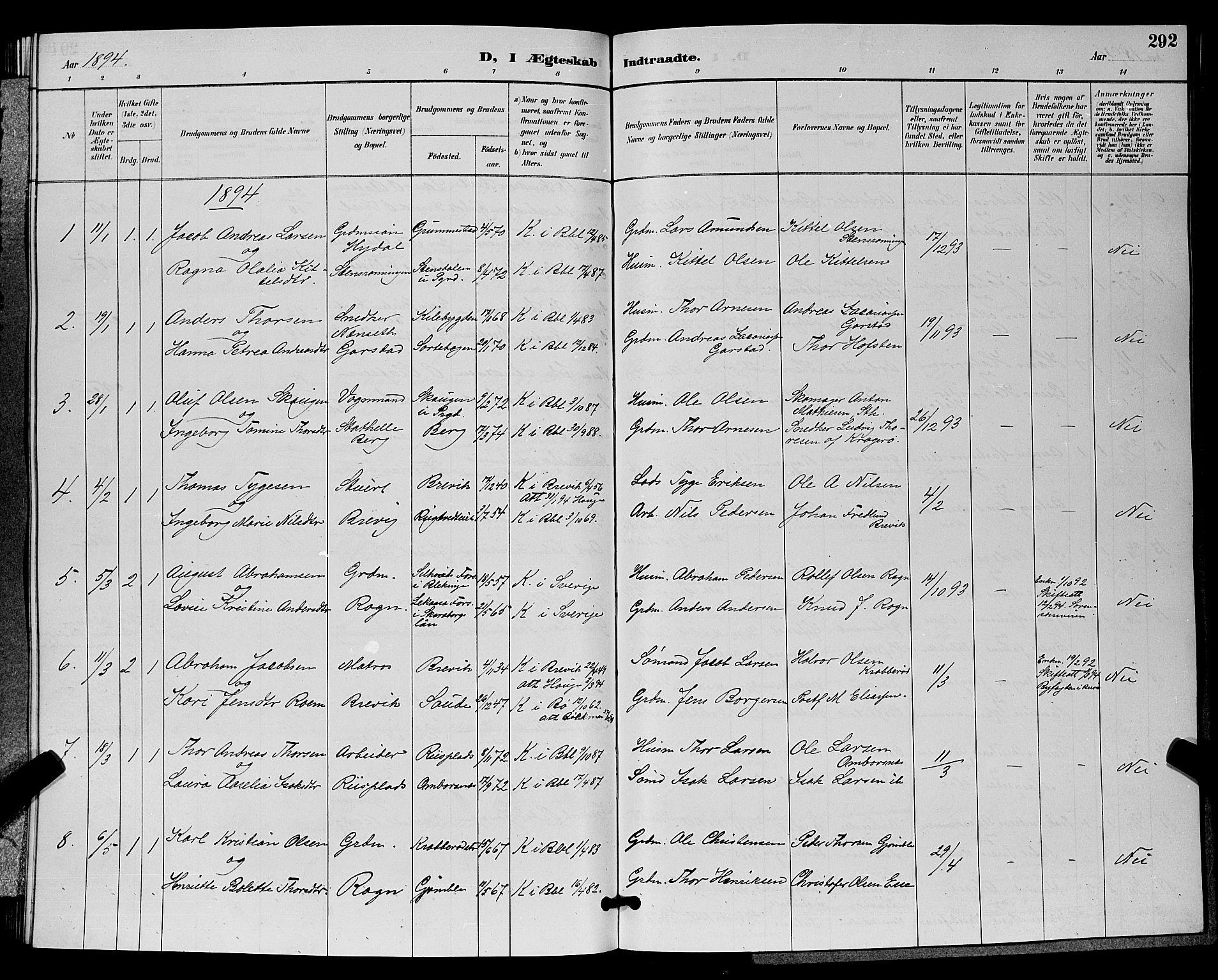 SAKO, Bamble kirkebøker, G/Ga/L0009: Klokkerbok nr. I 9, 1888-1900, s. 292