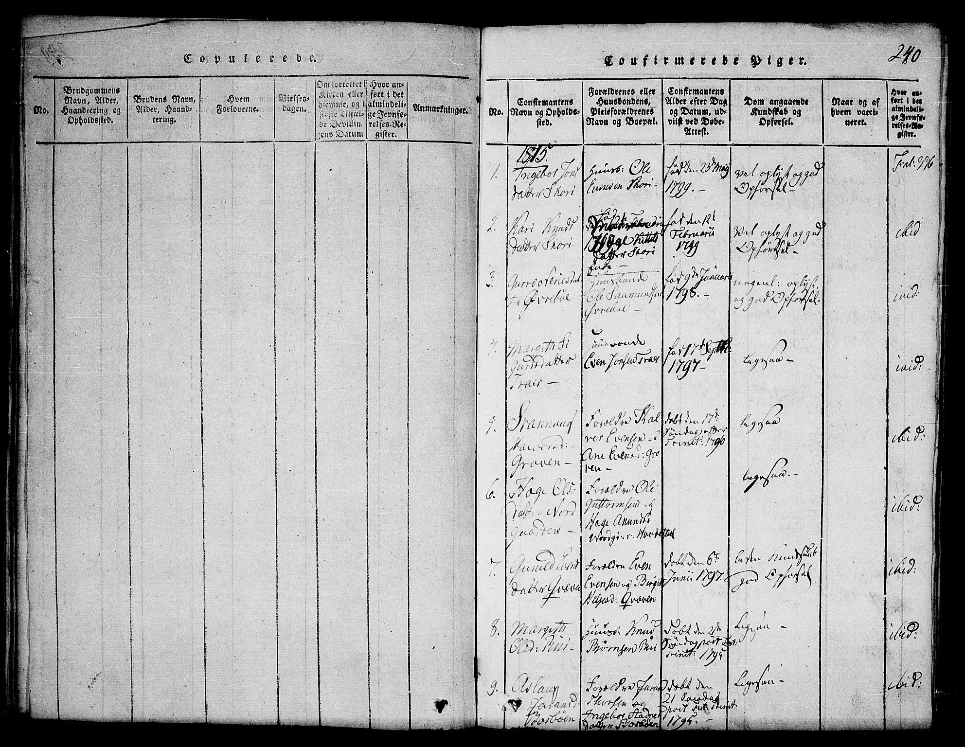 SAKO, Seljord kirkebøker, F/Fc/L0001: Ministerialbok nr. III 1, 1815-1831, s. 240