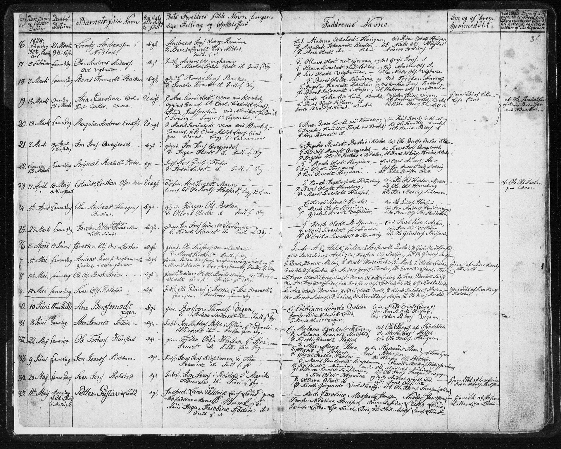 SAT, Ministerialprotokoller, klokkerbøker og fødselsregistre - Sør-Trøndelag, 616/L0404: Ministerialbok nr. 616A01, 1823-1831, s. 3