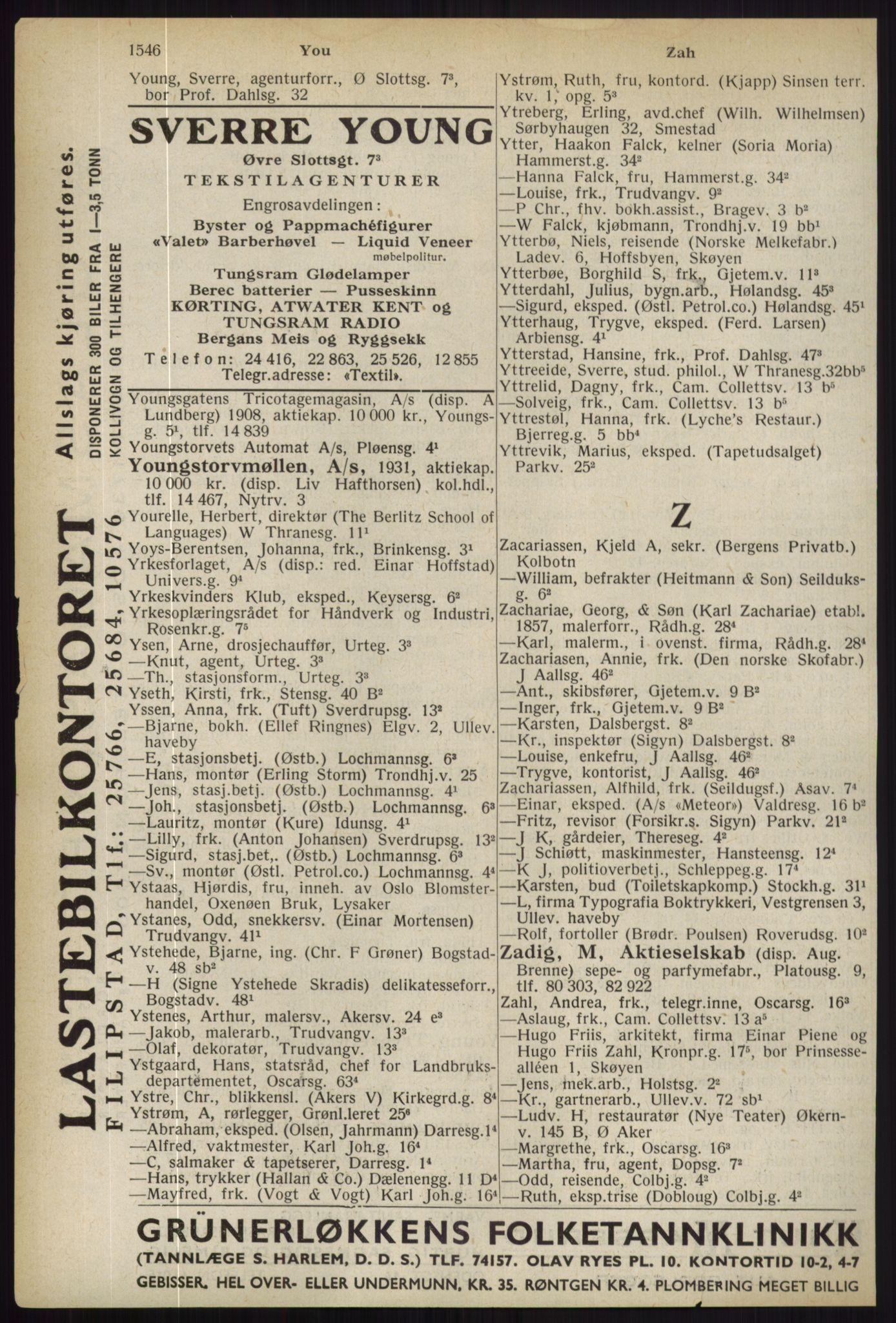 RA, Oslo adressebok (publikasjon)*, 1936, s. 1546