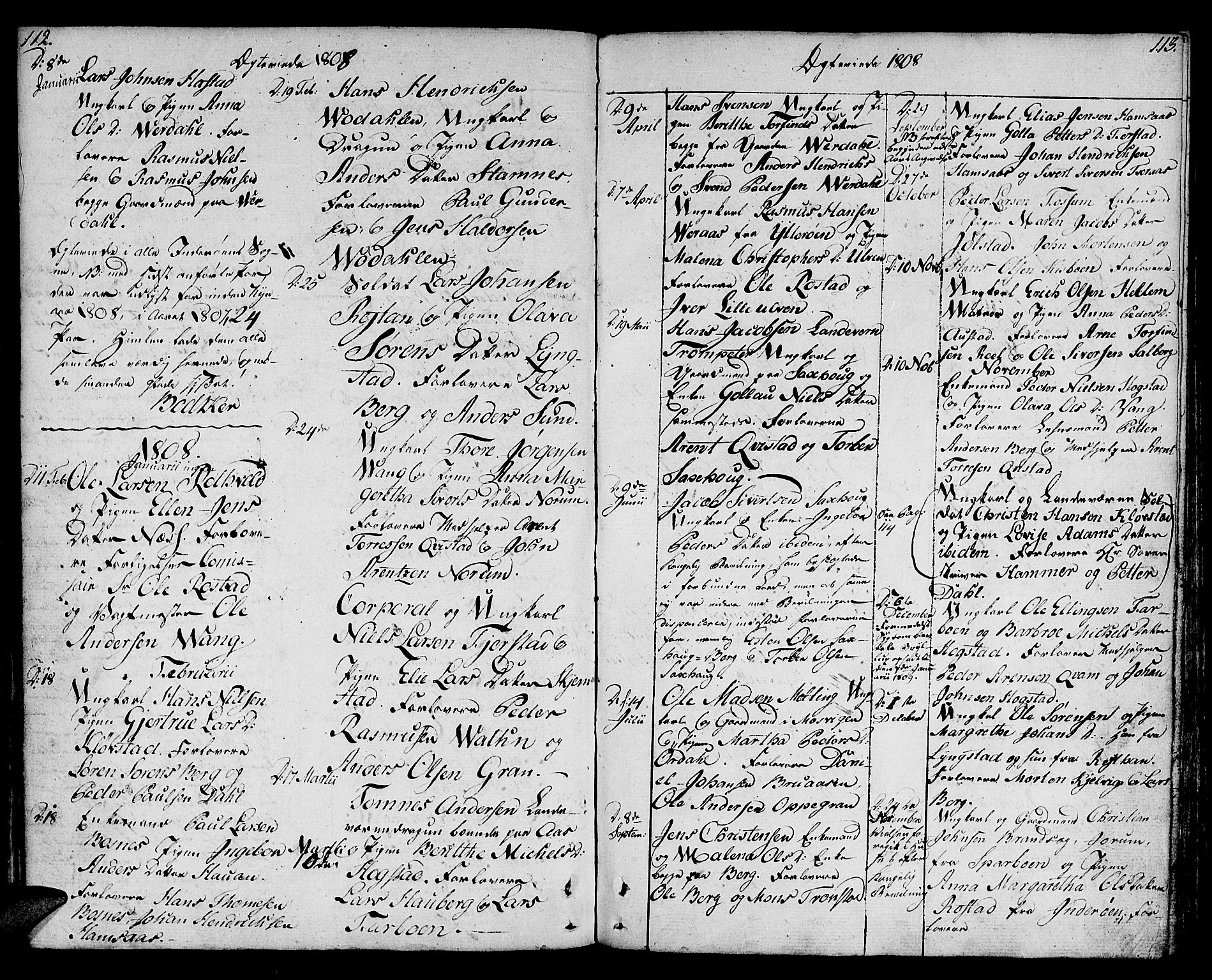 SAT, Ministerialprotokoller, klokkerbøker og fødselsregistre - Nord-Trøndelag, 730/L0274: Ministerialbok nr. 730A03, 1802-1816, s. 112-113