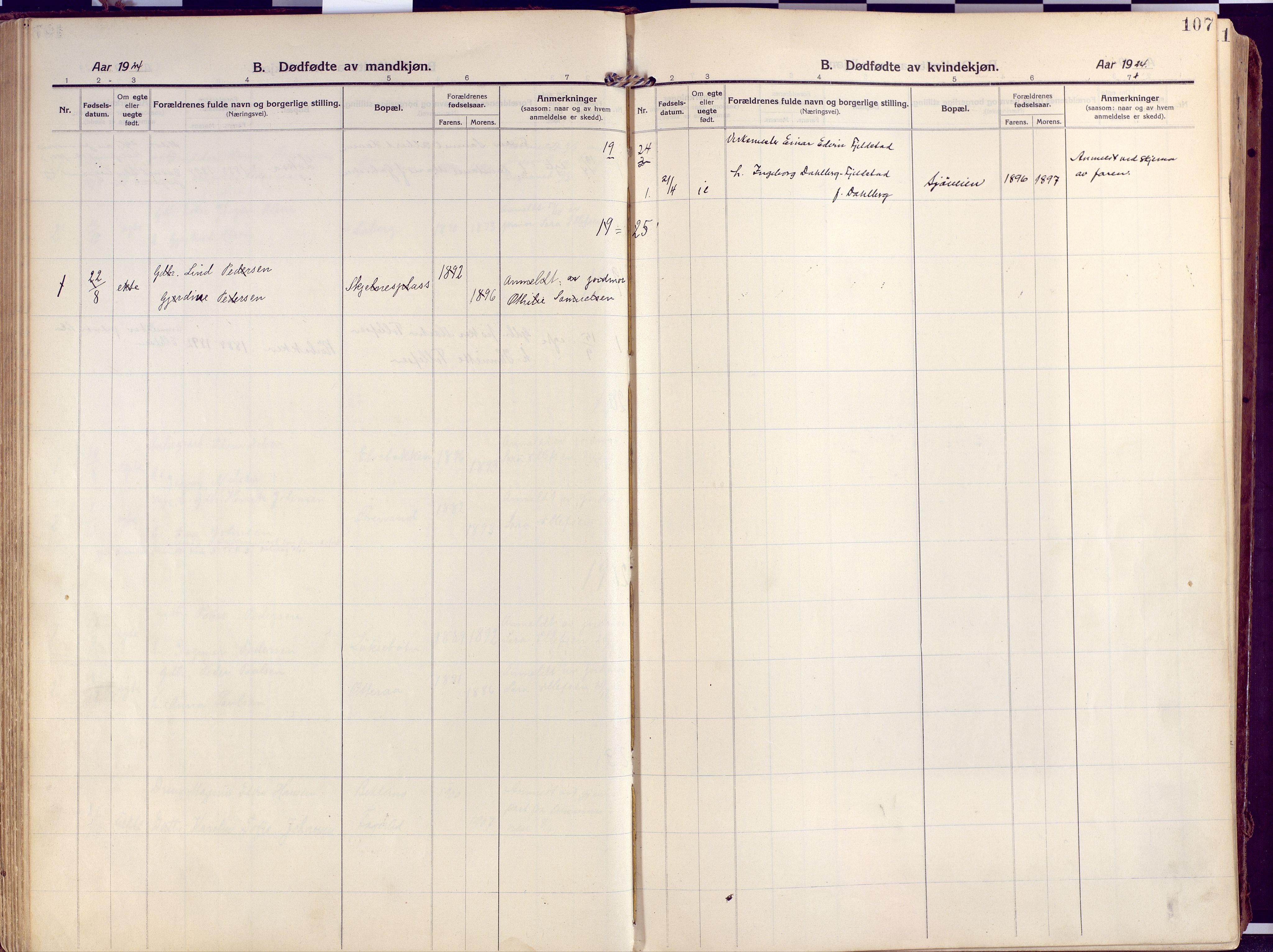 SATØ, Salangen sokneprestembete, Ministerialbok nr. 4, 1912-1927, s. 107
