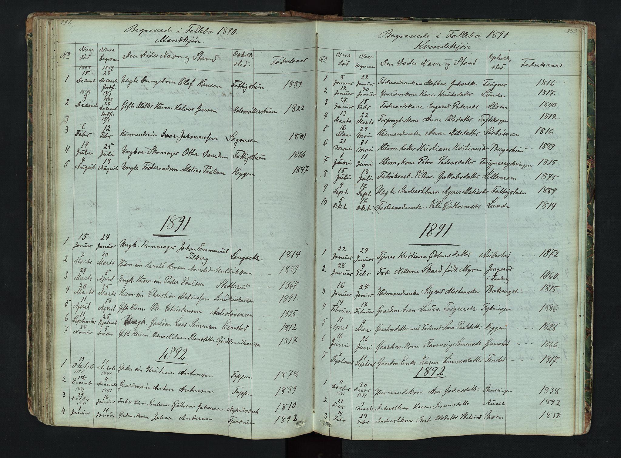 SAH, Gausdal prestekontor, Klokkerbok nr. 6, 1846-1893, s. 332-333