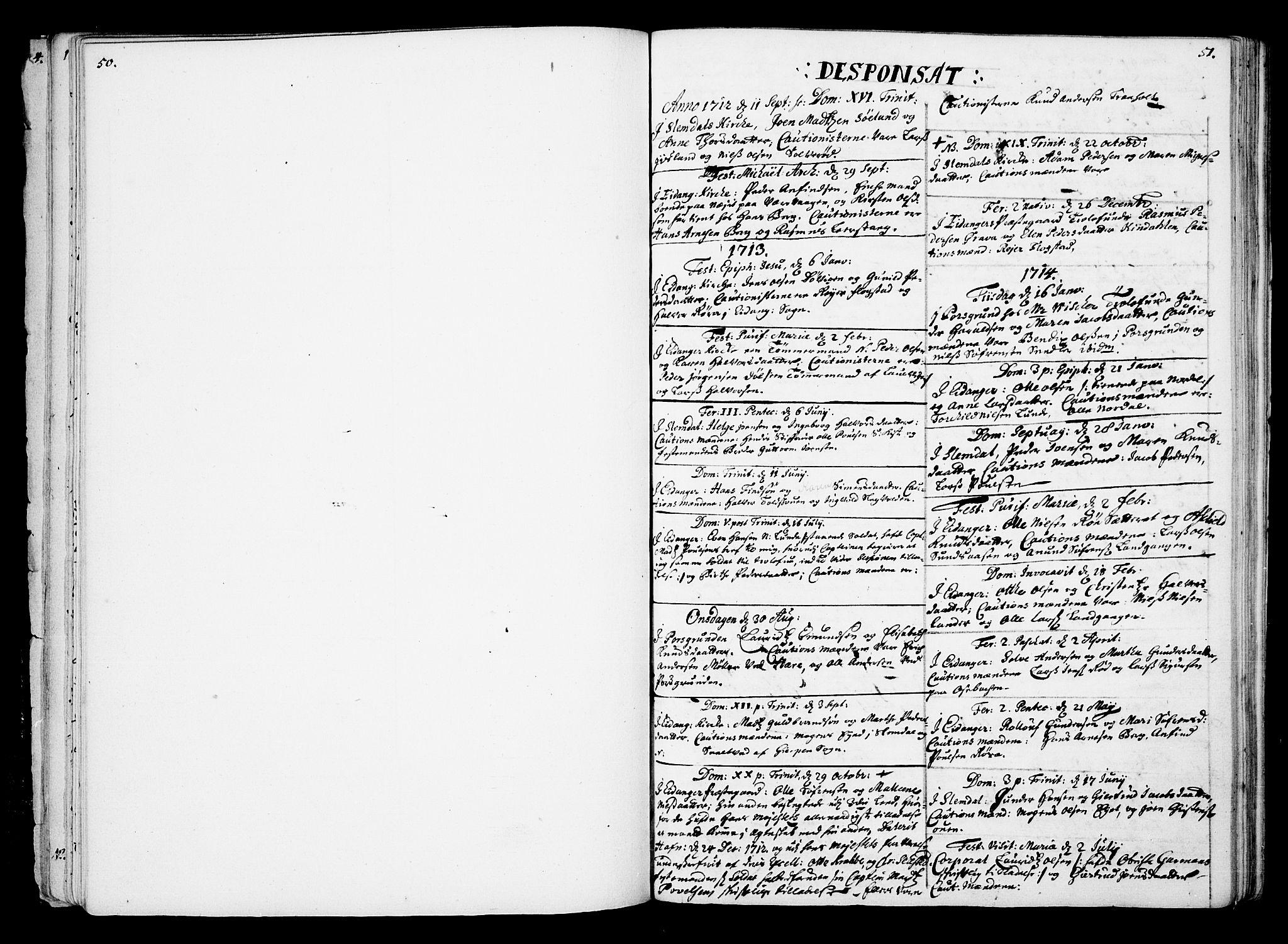 SAKO, Eidanger kirkebøker, F/Fa/L0002: Ministerialbok nr. 2, 1712-1720, s. 50-51