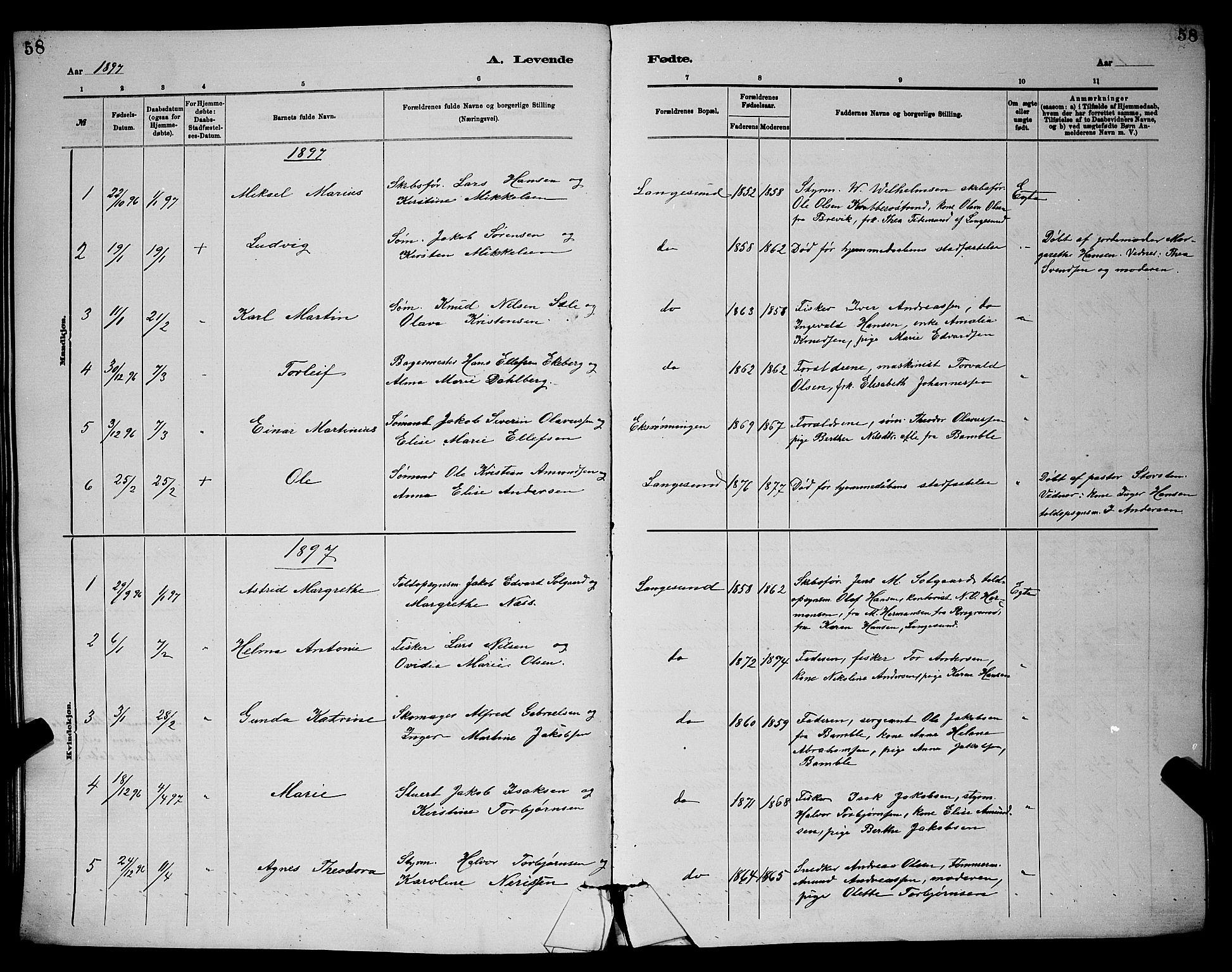 SAKO, Langesund kirkebøker, G/Ga/L0005: Klokkerbok nr. 5, 1884-1898, s. 58