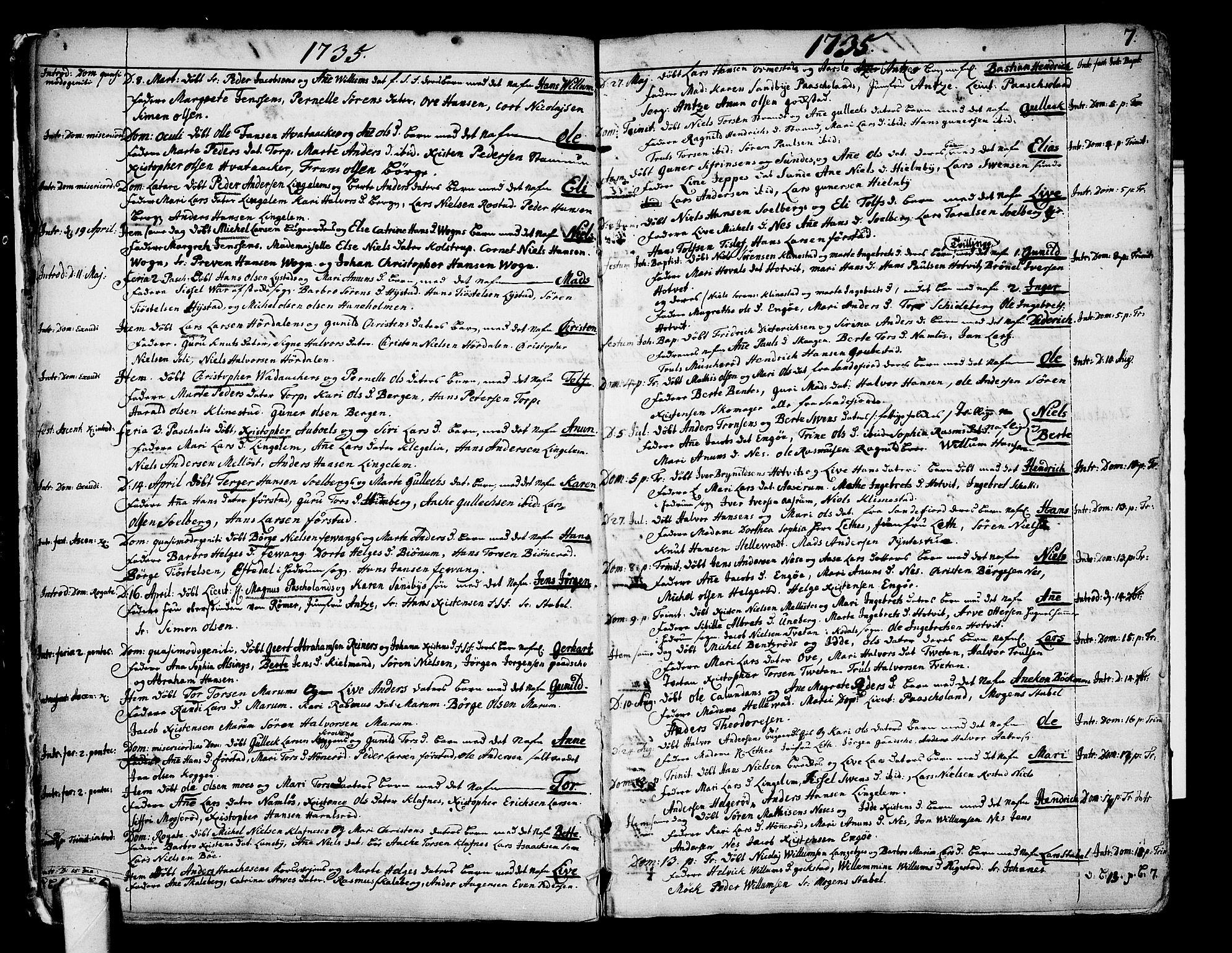 SAKO, Sandar kirkebøker, F/Fa/L0002: Ministerialbok nr. 2, 1733-1788, s. 7