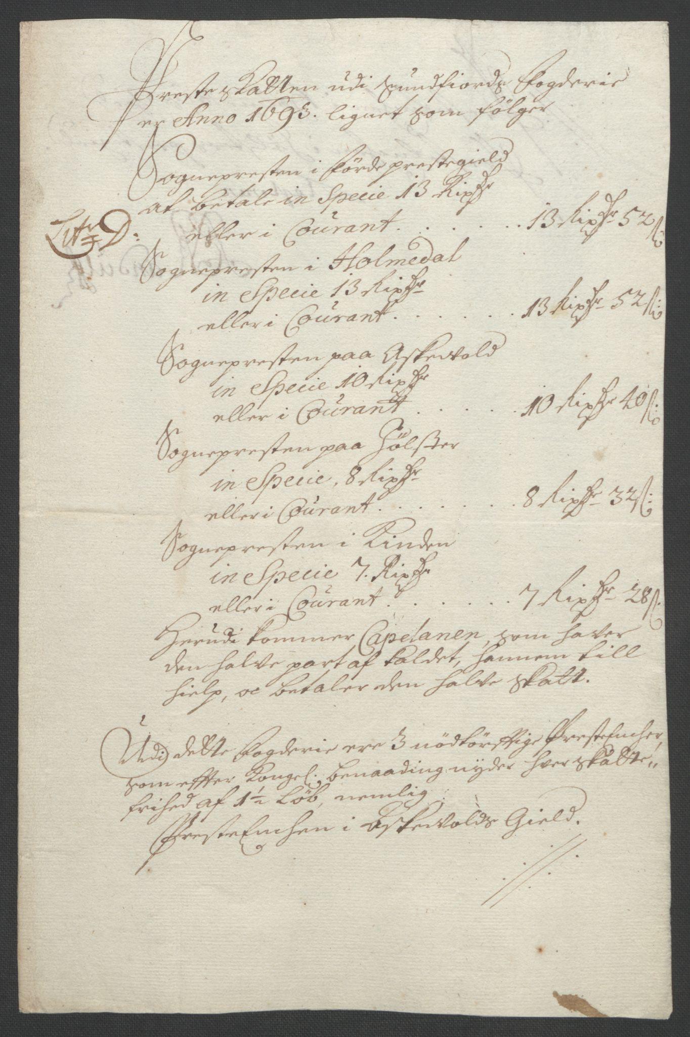 RA, Rentekammeret inntil 1814, Reviderte regnskaper, Fogderegnskap, R53/L3421: Fogderegnskap Sunn- og Nordfjord, 1693-1694, s. 77