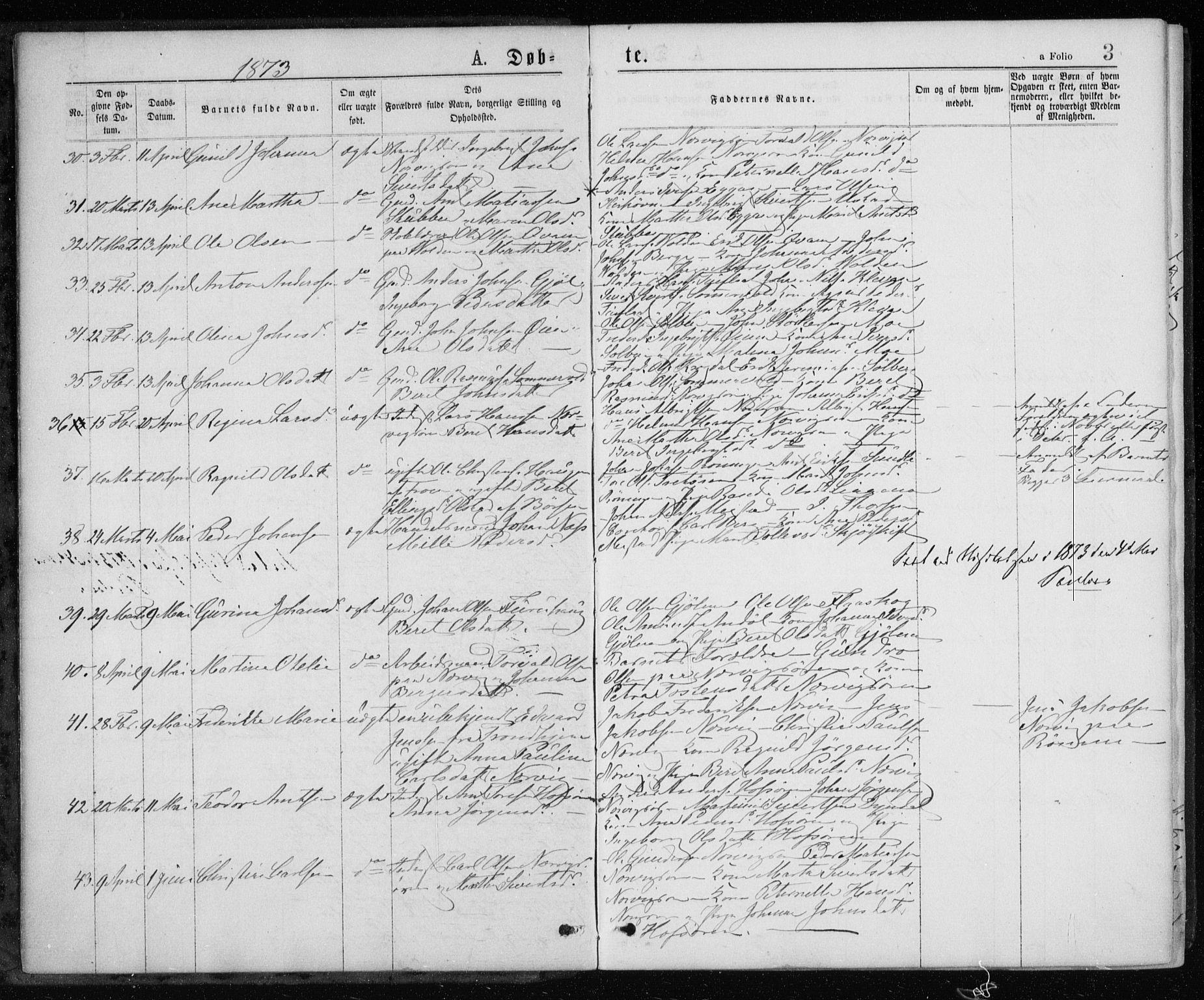 SAT, Ministerialprotokoller, klokkerbøker og fødselsregistre - Sør-Trøndelag, 668/L0817: Klokkerbok nr. 668C06, 1873-1884, s. 3