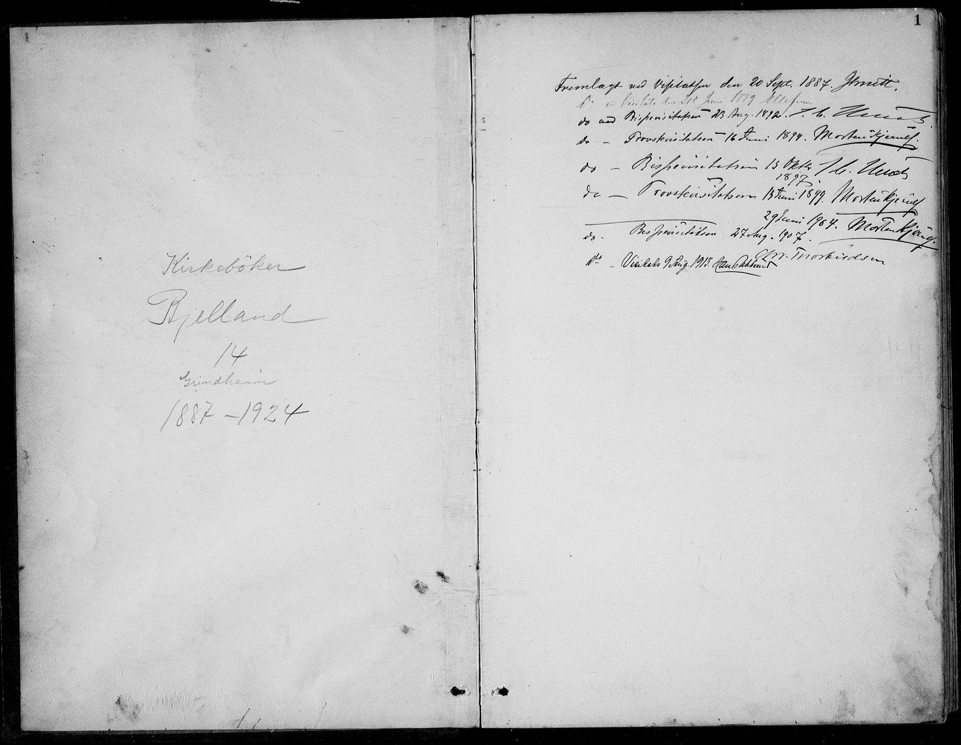 SAK, Bjelland sokneprestkontor, F/Fb/Fbc/L0003: Klokkerbok nr. B 3, 1887-1924, s. 1