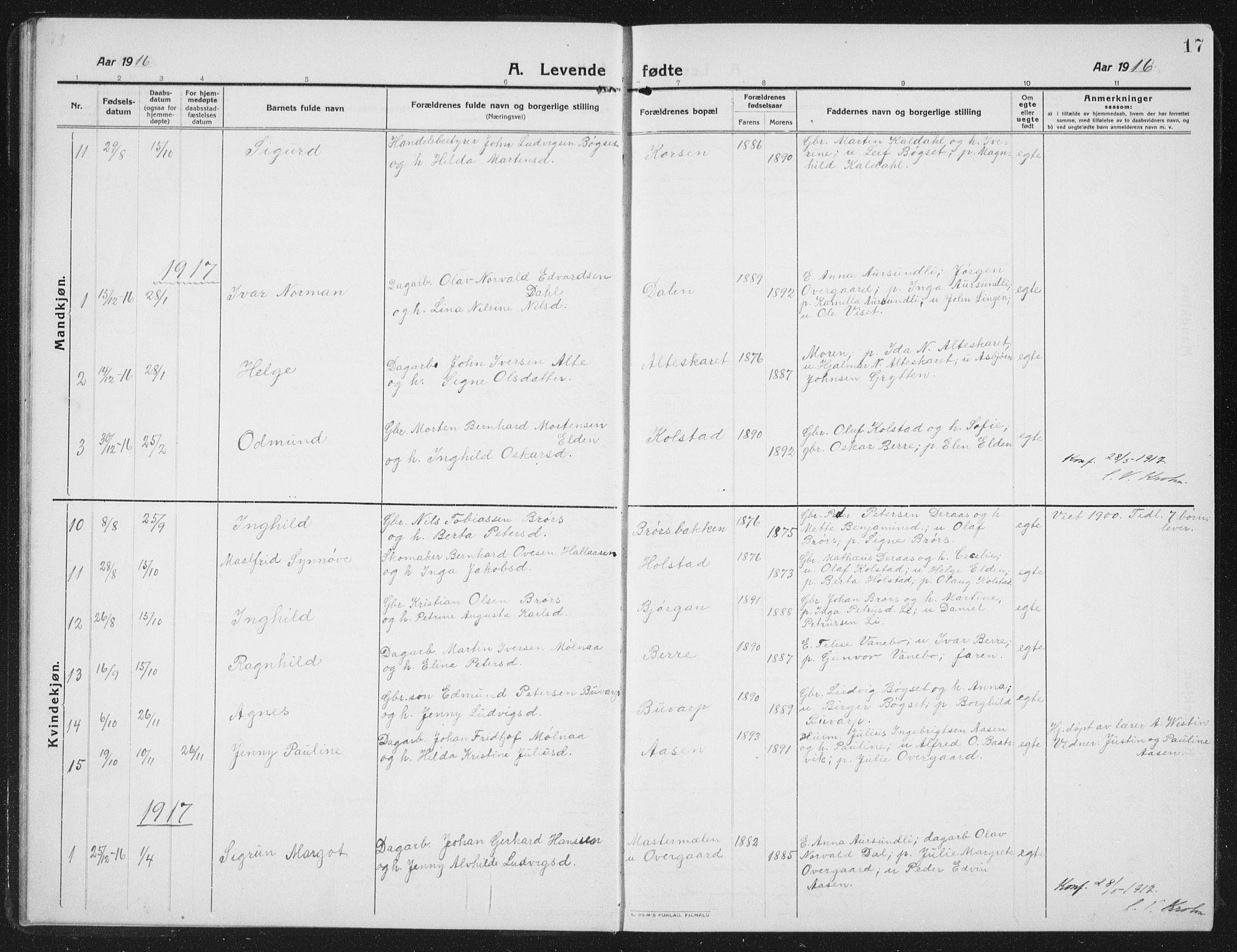 SAT, Ministerialprotokoller, klokkerbøker og fødselsregistre - Nord-Trøndelag, 742/L0413: Klokkerbok nr. 742C04, 1911-1938, s. 17