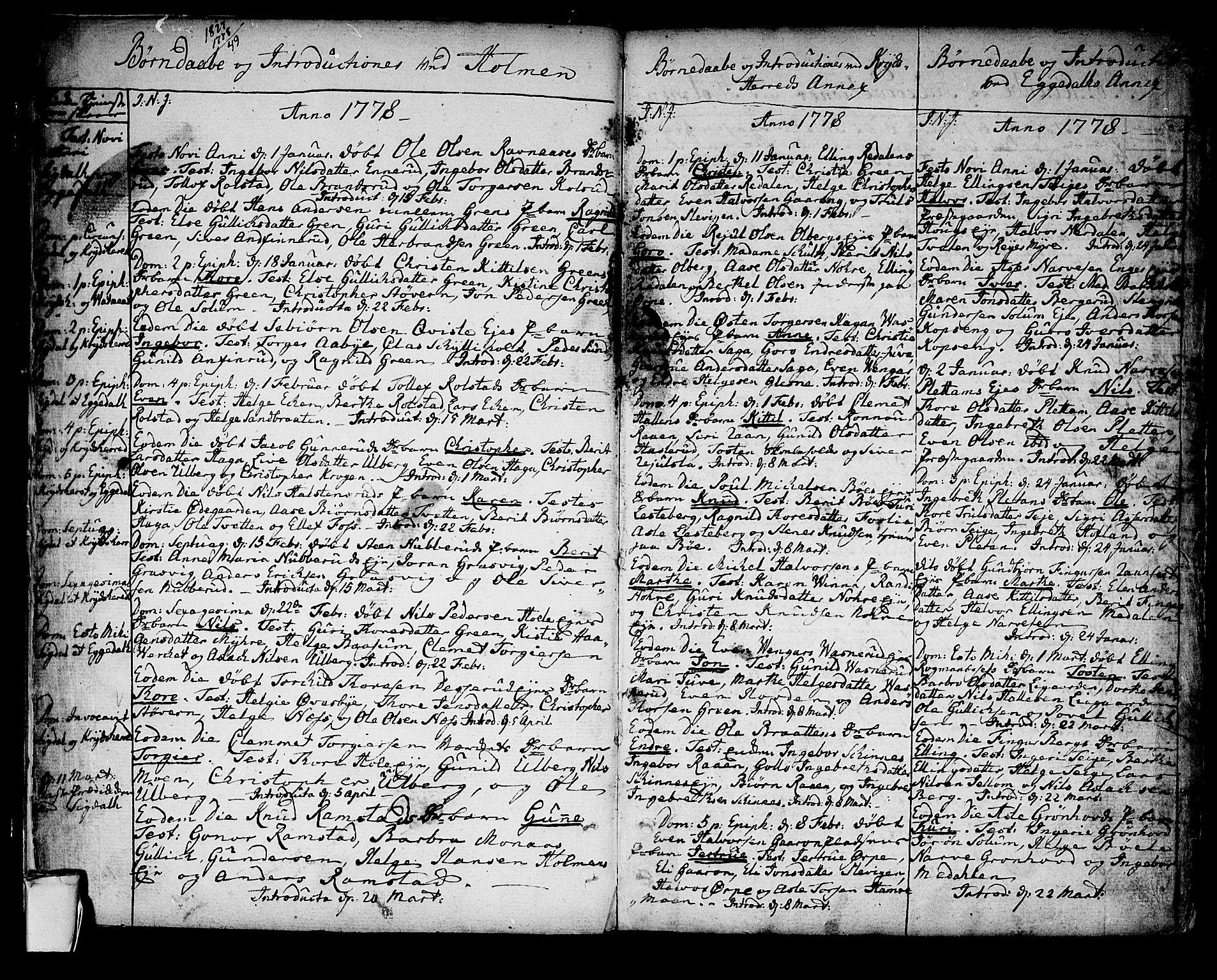 SAKO, Sigdal kirkebøker, F/Fa/L0002: Ministerialbok nr. I 2, 1778-1792, s. 3-4