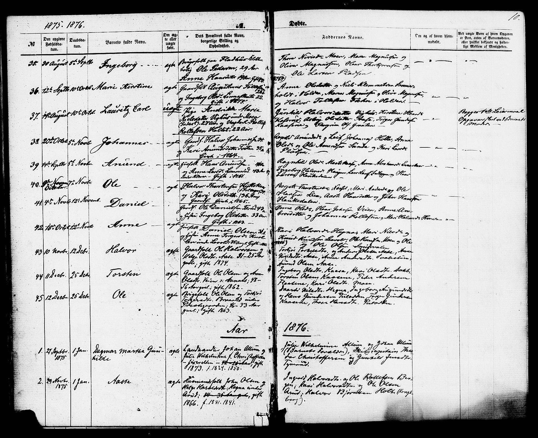 SAKO, Sauherad kirkebøker, F/Fa/L0008: Ministerialbok nr. I 8, 1873-1886, s. 10
