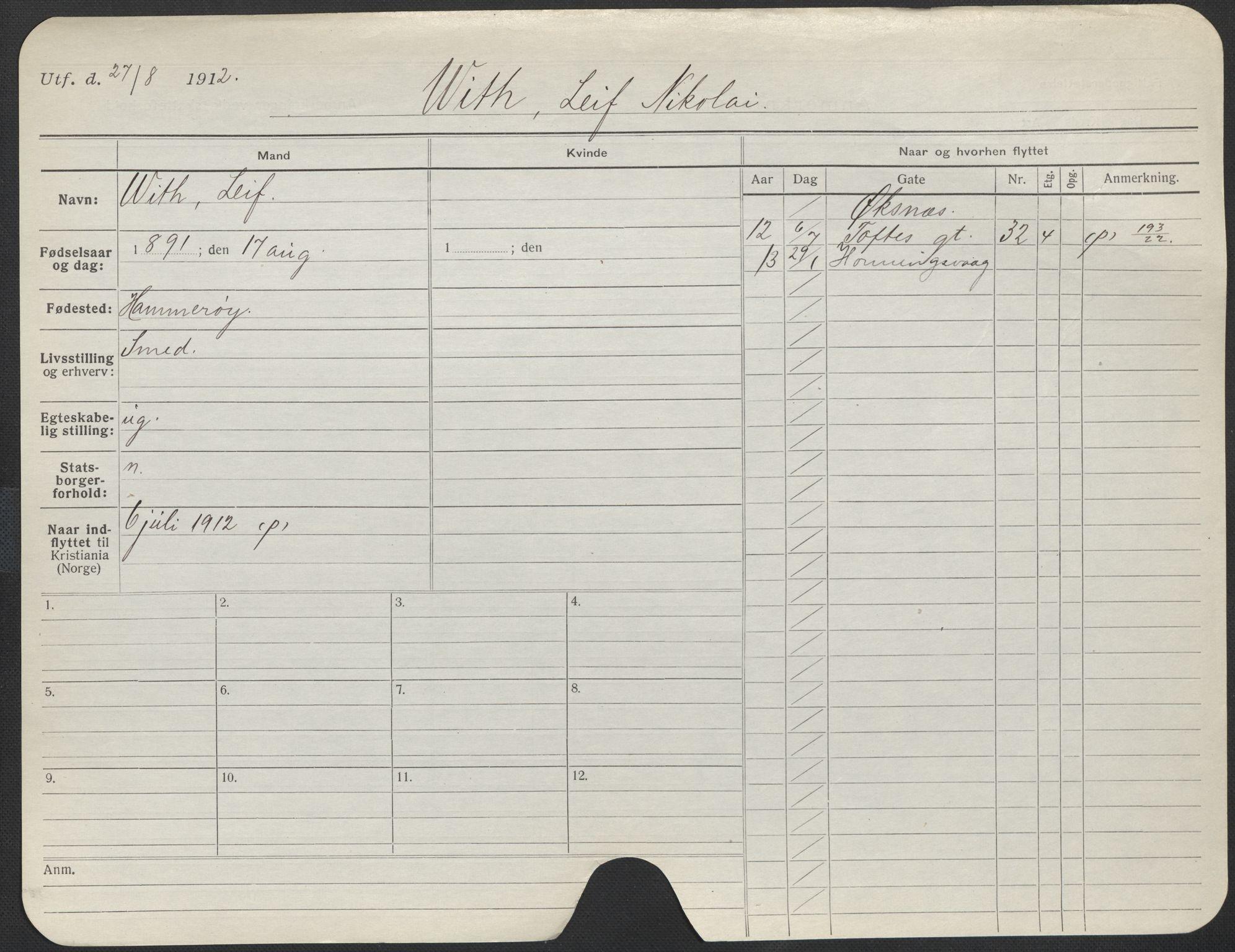 SAO, Oslo folkeregister, Registerkort, F/Fa/Fac/L0011: Menn, 1906-1914, s. 901a