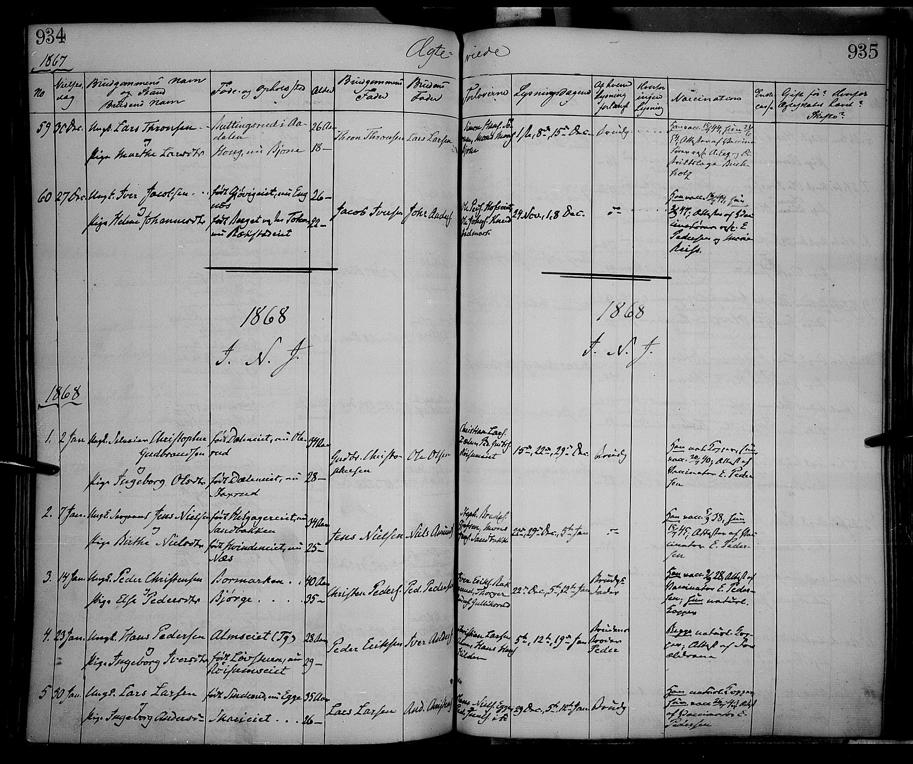 SAH, Gran prestekontor, Ministerialbok nr. 12, 1856-1874, s. 934-935