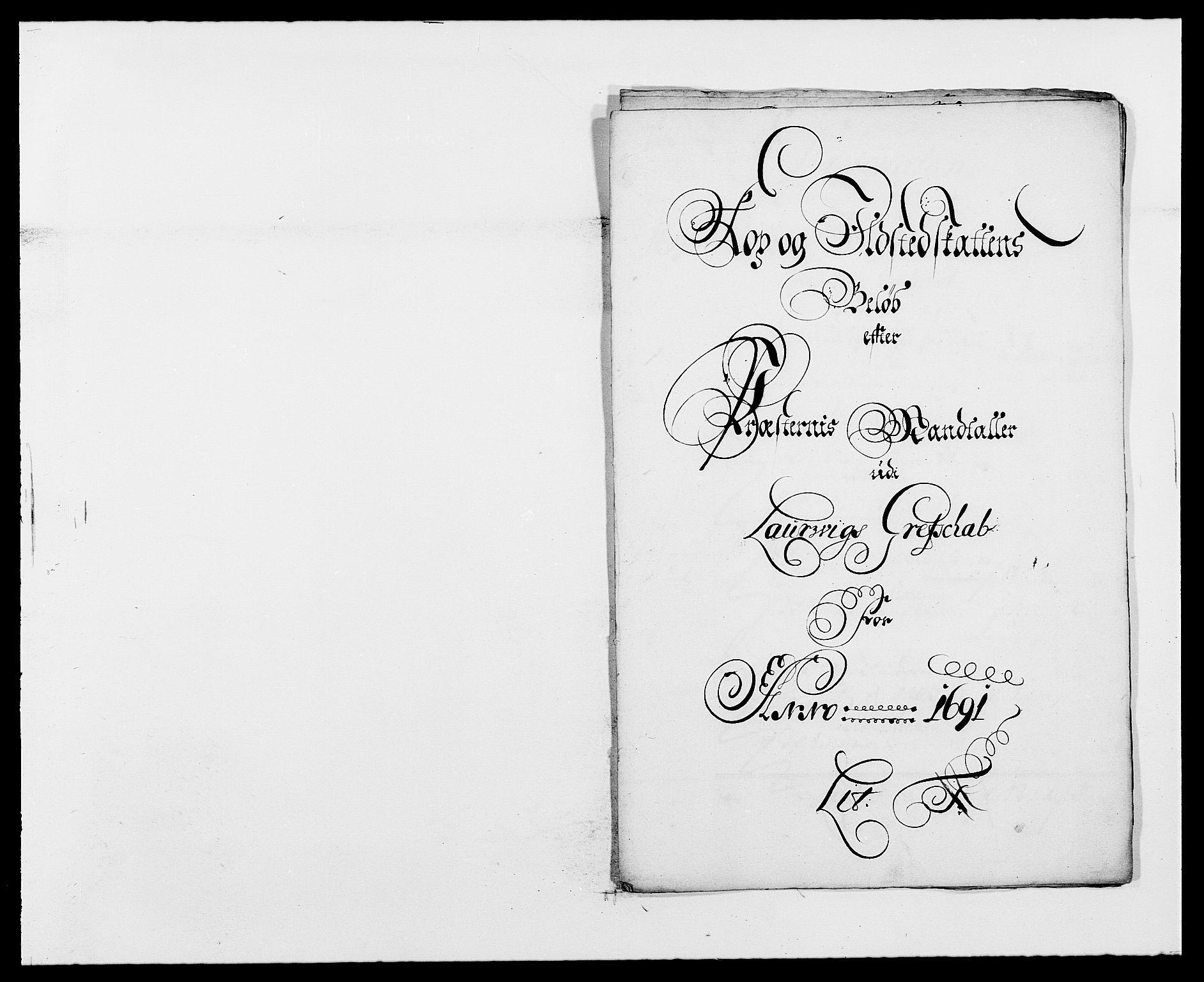 RA, Rentekammeret inntil 1814, Reviderte regnskaper, Fogderegnskap, R33/L1972: Fogderegnskap Larvik grevskap, 1690-1691, s. 332