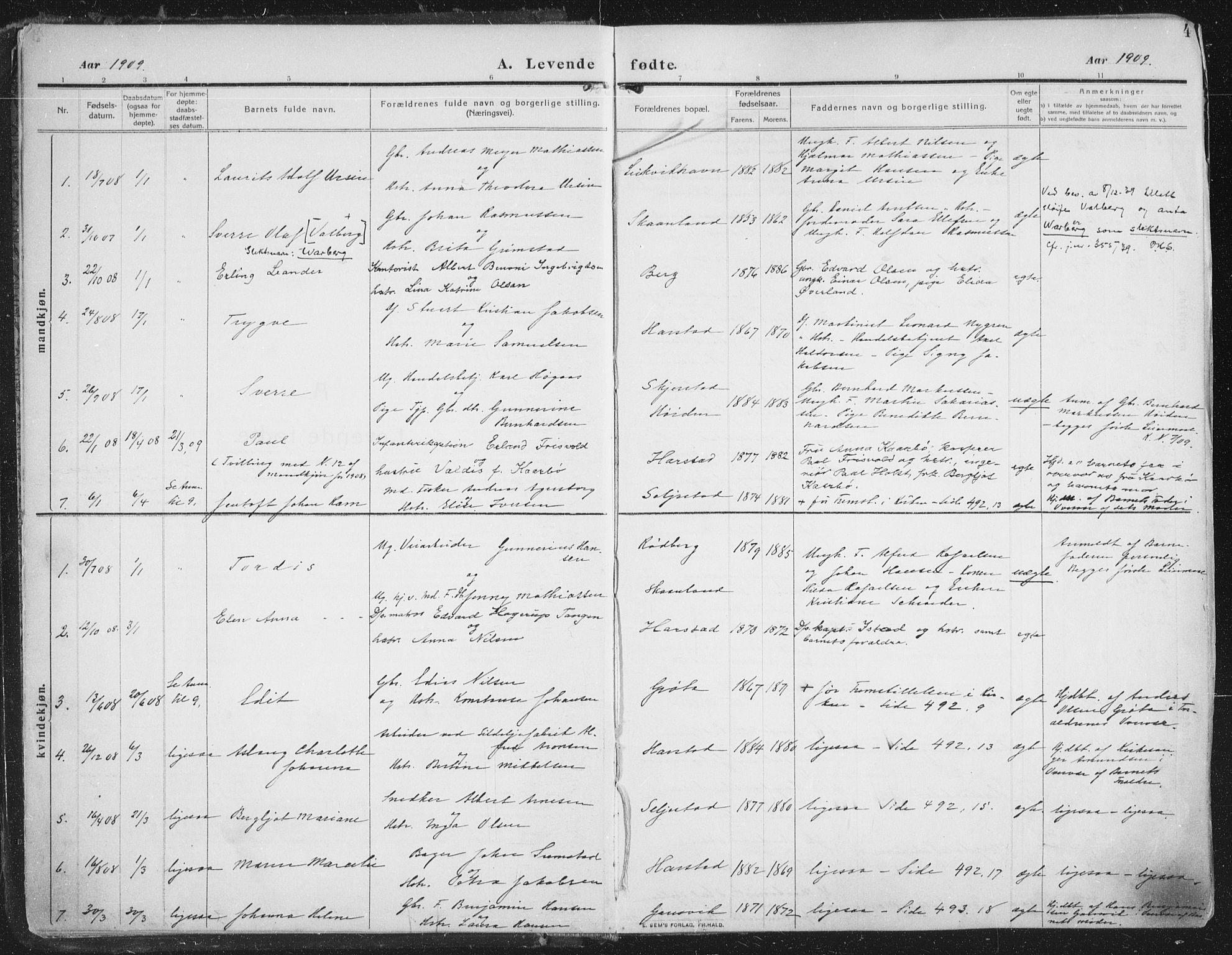 SATØ, Trondenes sokneprestkontor, H/Ha/L0018kirke: Ministerialbok nr. 18, 1909-1918, s. 4