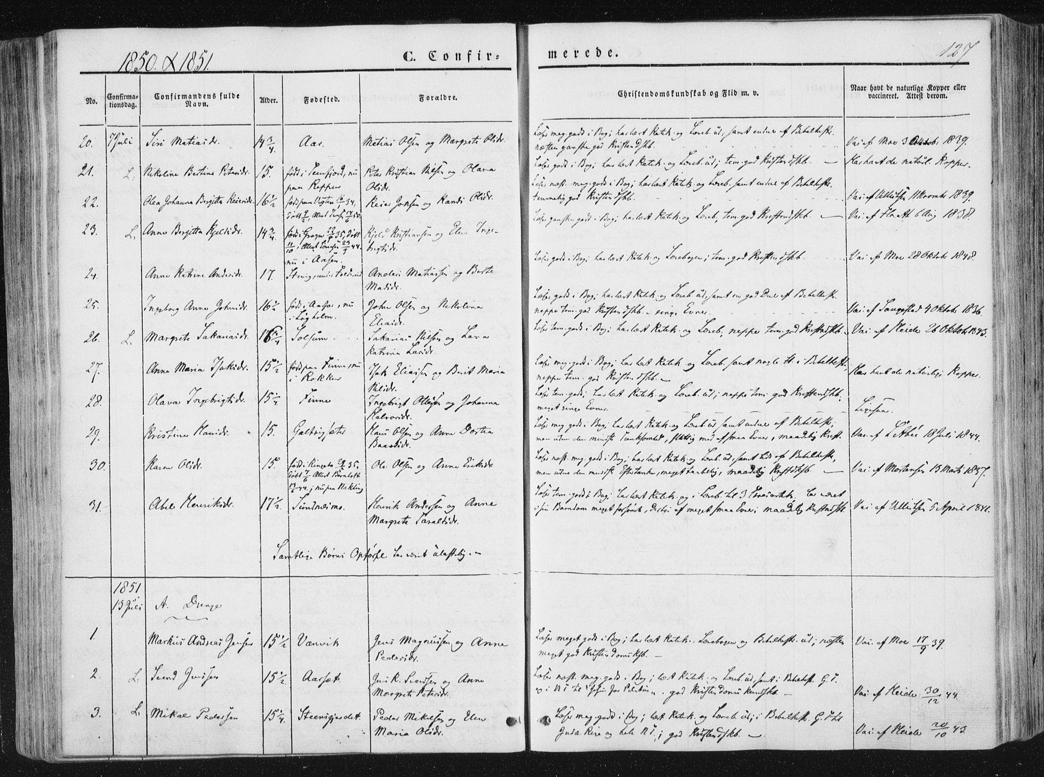 SAT, Ministerialprotokoller, klokkerbøker og fødselsregistre - Nord-Trøndelag, 780/L0640: Ministerialbok nr. 780A05, 1845-1856, s. 127