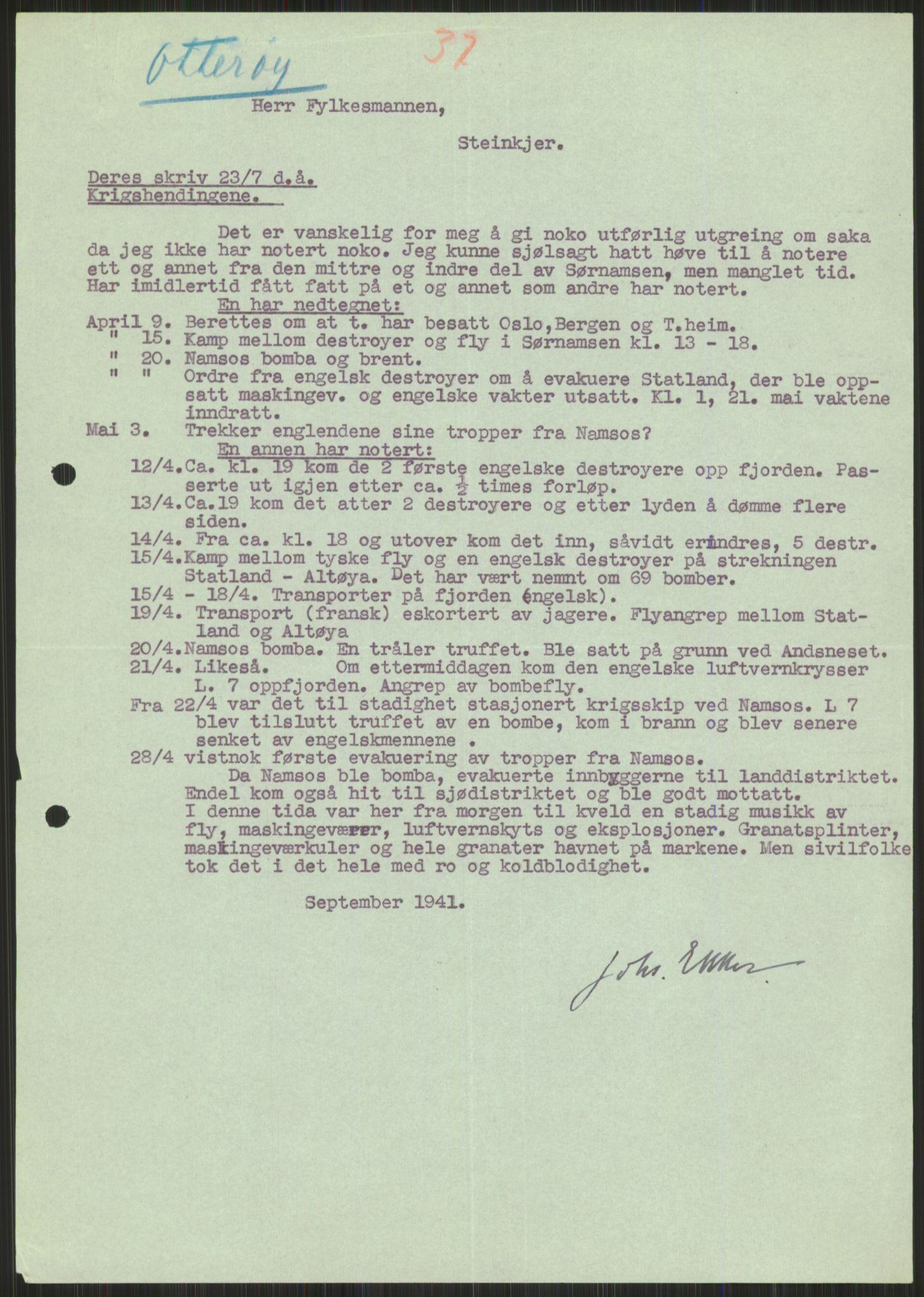 RA, Forsvaret, Forsvarets krigshistoriske avdeling, Y/Ya/L0016: II-C-11-31 - Fylkesmenn.  Rapporter om krigsbegivenhetene 1940., 1940, s. 533