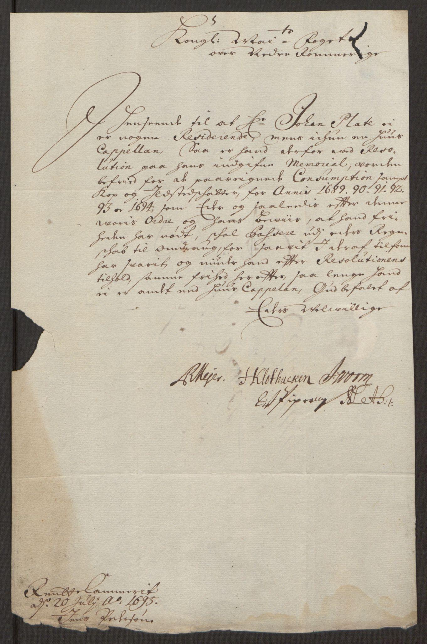 RA, Rentekammeret inntil 1814, Reviderte regnskaper, Fogderegnskap, R11/L0579: Fogderegnskap Nedre Romerike, 1694-1695, s. 421