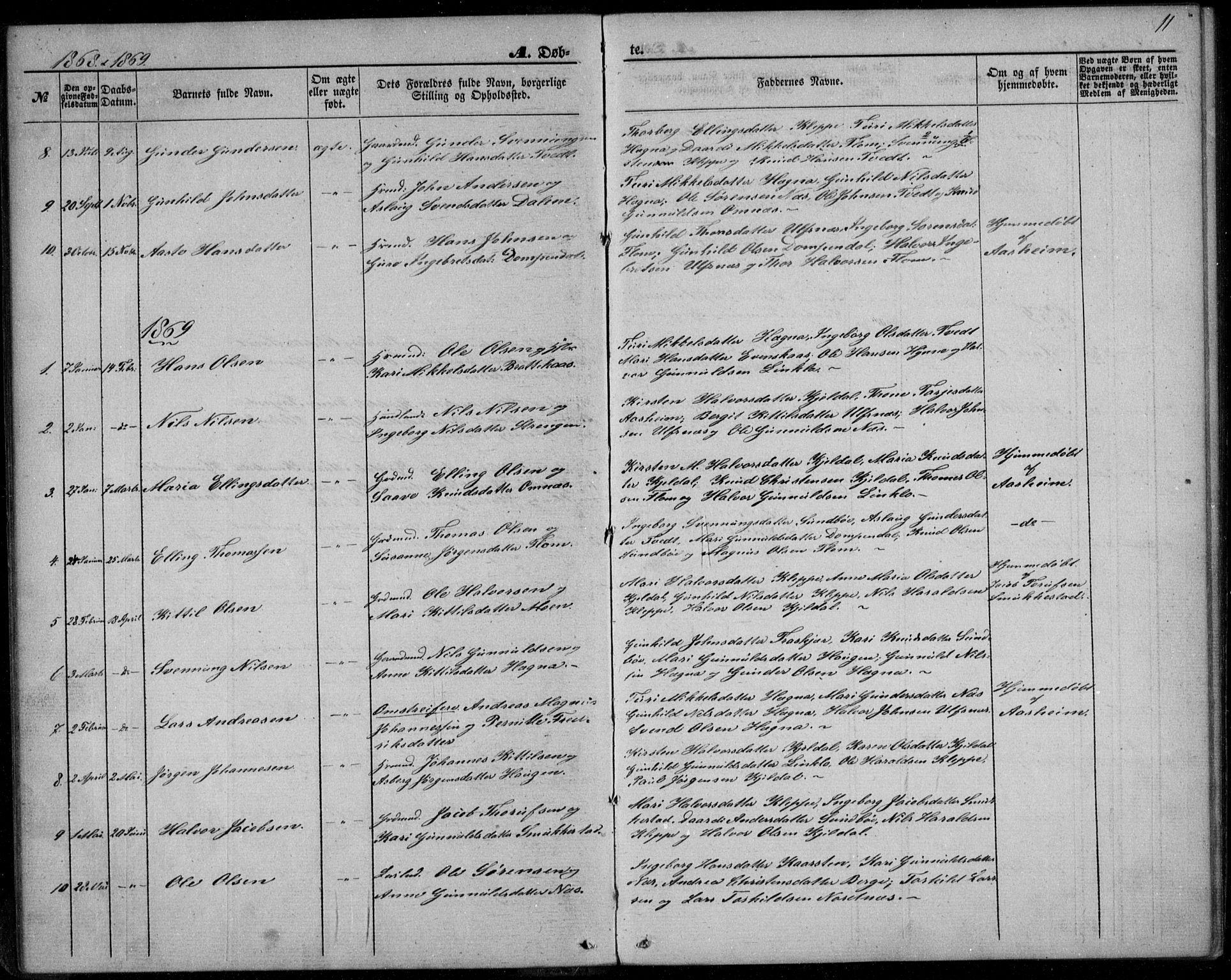 SAKO, Lunde kirkebøker, F/Fb/L0002: Ministerialbok nr. II 2, 1861-1881, s. 11