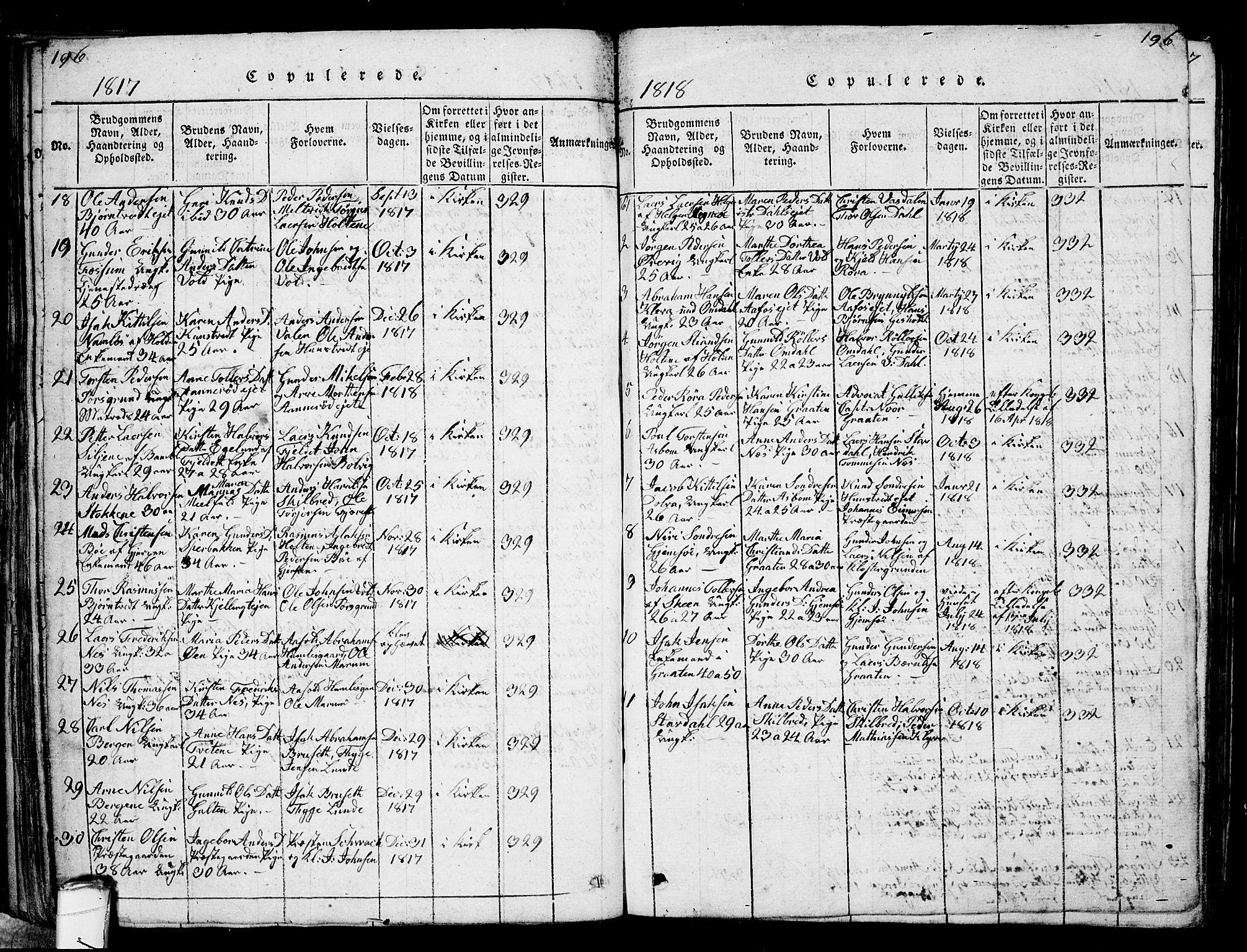 SAKO, Solum kirkebøker, G/Ga/L0001: Klokkerbok nr. I 1, 1814-1833, s. 196