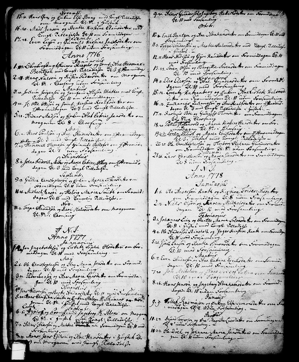 SAKO, Skien kirkebøker, G/Ga/L0001: Klokkerbok nr. 1, 1756-1791, s. 38