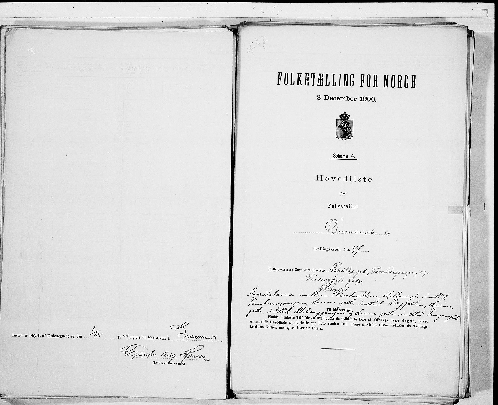 RA, Folketelling 1900 for 0602 Drammen kjøpstad, 1900, s. 99