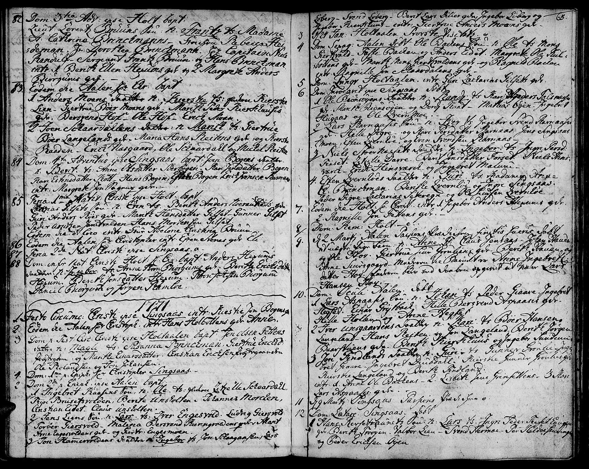 SAT, Ministerialprotokoller, klokkerbøker og fødselsregistre - Sør-Trøndelag, 685/L0952: Ministerialbok nr. 685A01, 1745-1804, s. 65